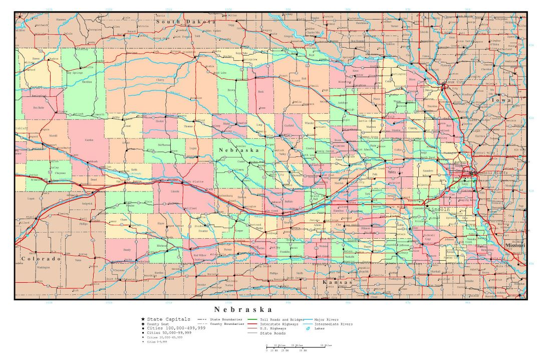 Large detailed administrative map of Nebraska state with roads, highways and major cities