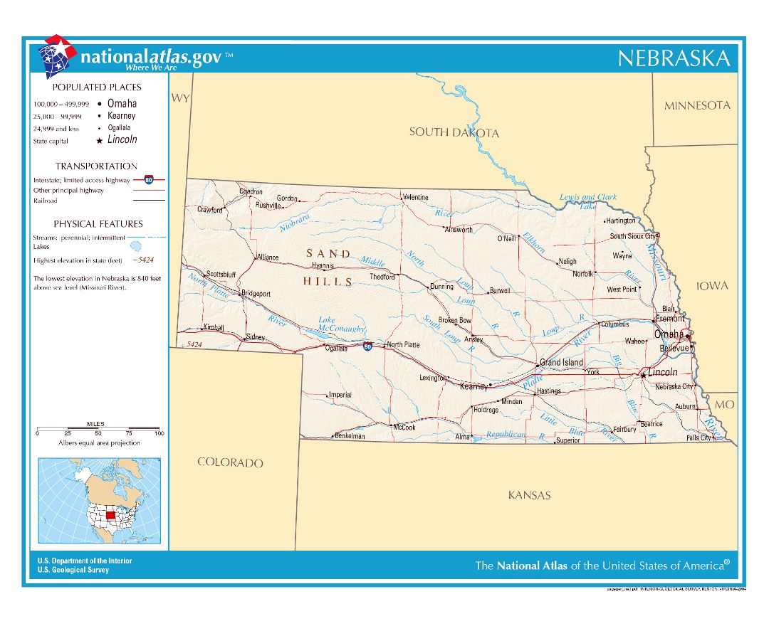Maps Of Nebraska State Collection Of Detailed Maps Of Nebraska - Nebraska physical map