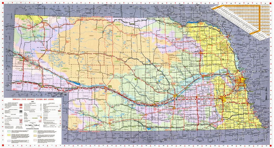 Large detailed Nebraska state highways system map with topographic regions