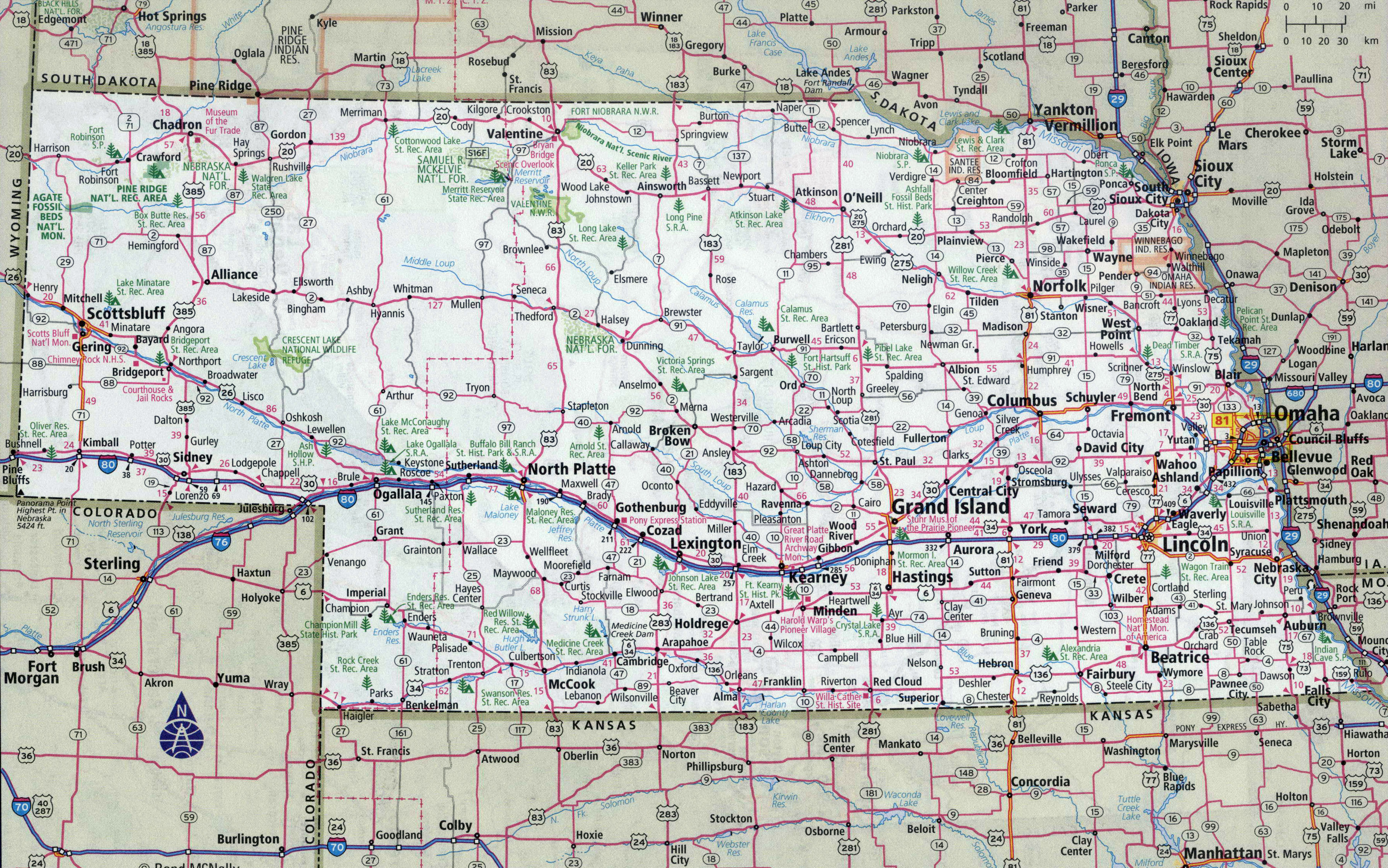 Map Of Nebraska Cities Large detailed roads and highways map of Nebraska state with all