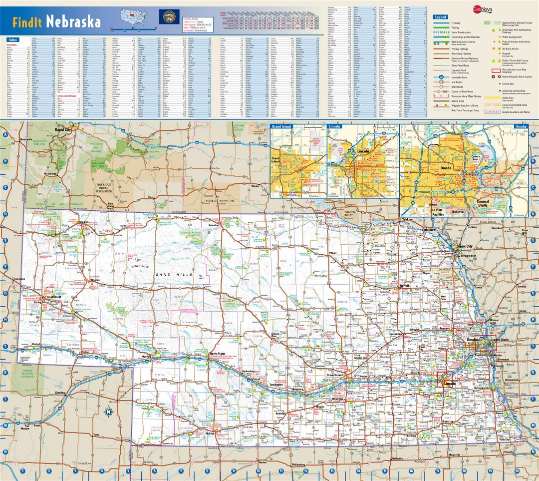 Large detailed roads and highways map of Nebraska state with national parks, all cities, towns and villages