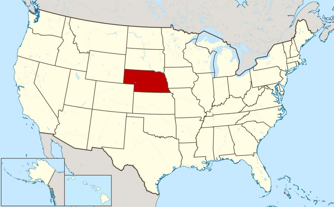 Large location map of Nebraska state