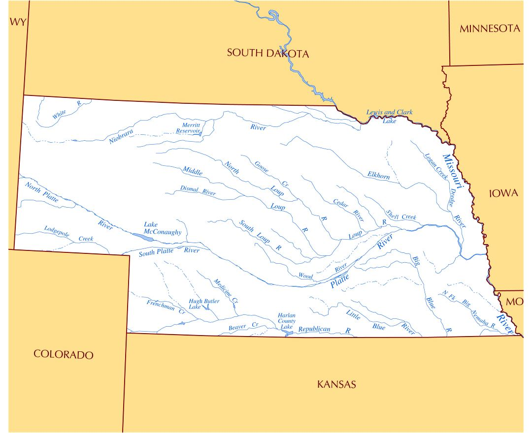 USA Rivers And Lakes Map Map Usa Rivers Map Images Reference Map - Nebrasks us map