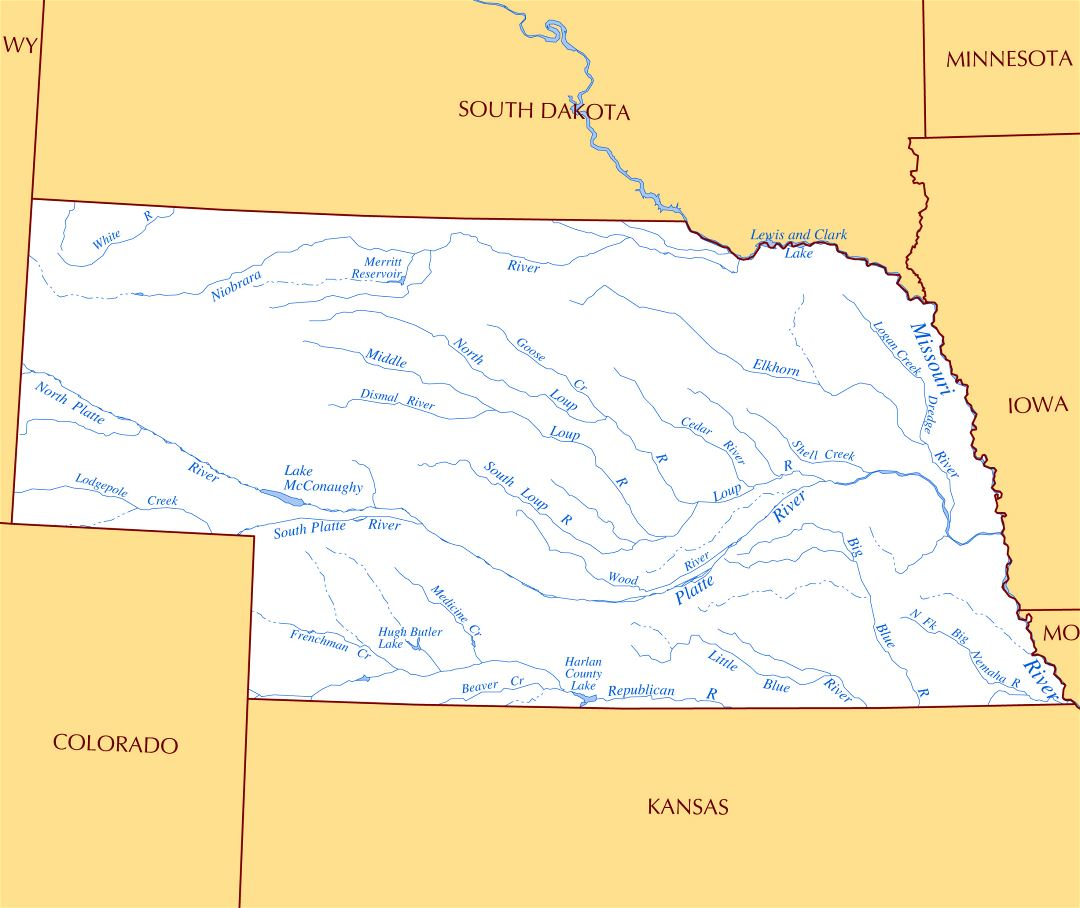 Large rivers and lakes map of Nebraska state