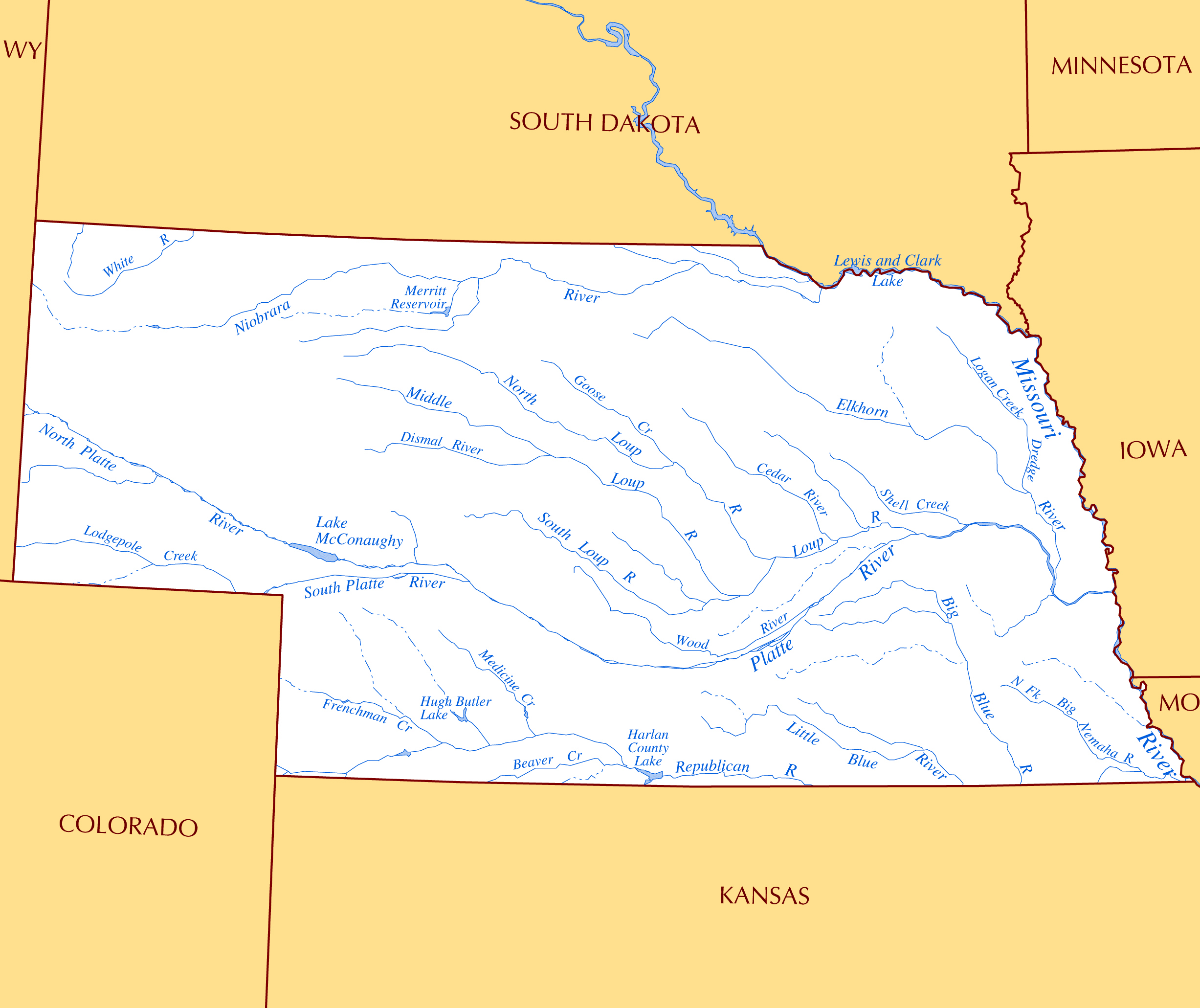 Large Rivers And Lakes Map Of Nebraska State Nebraska State Usa - Us-map-nebraska-state