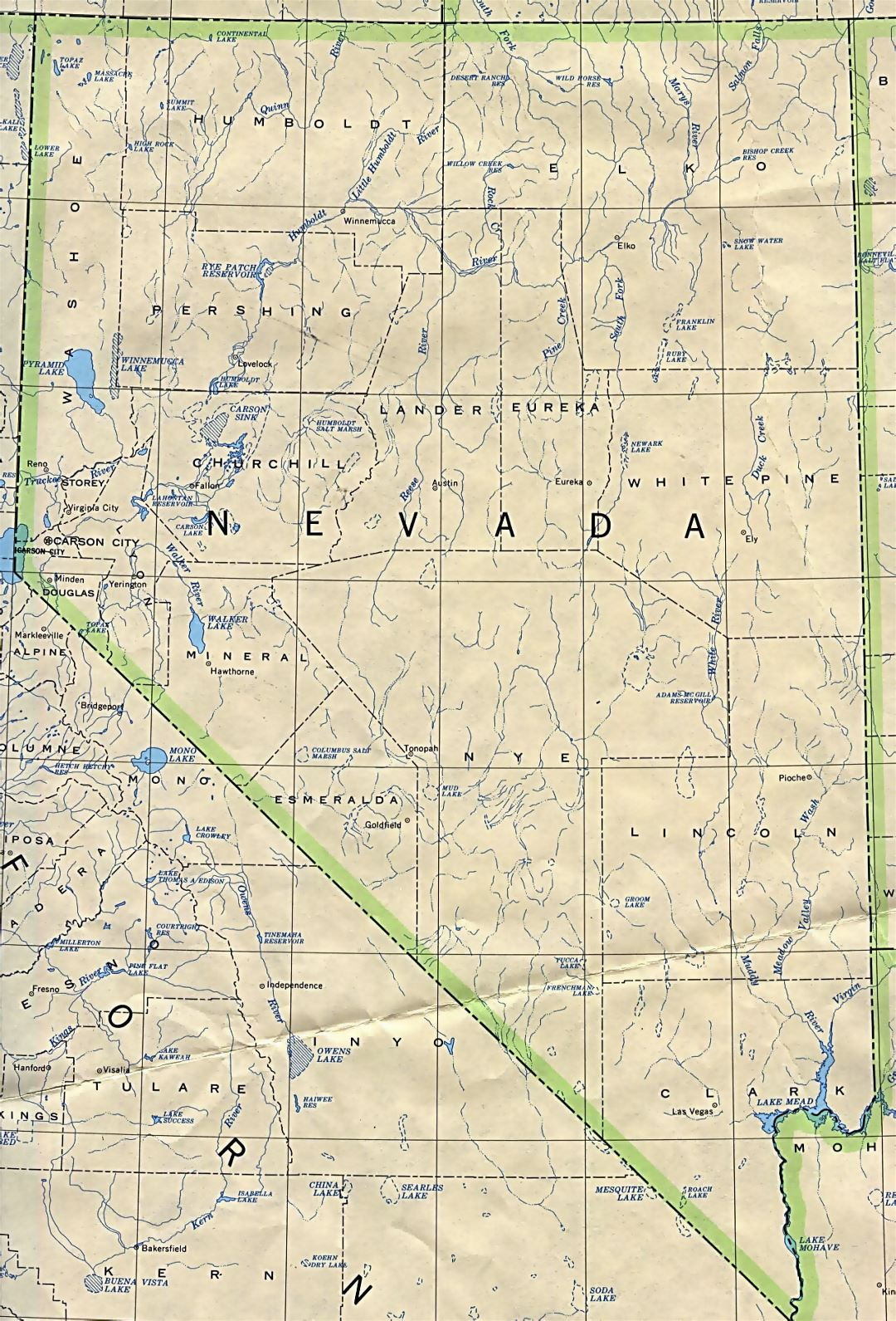 Administrative map of Nevada state