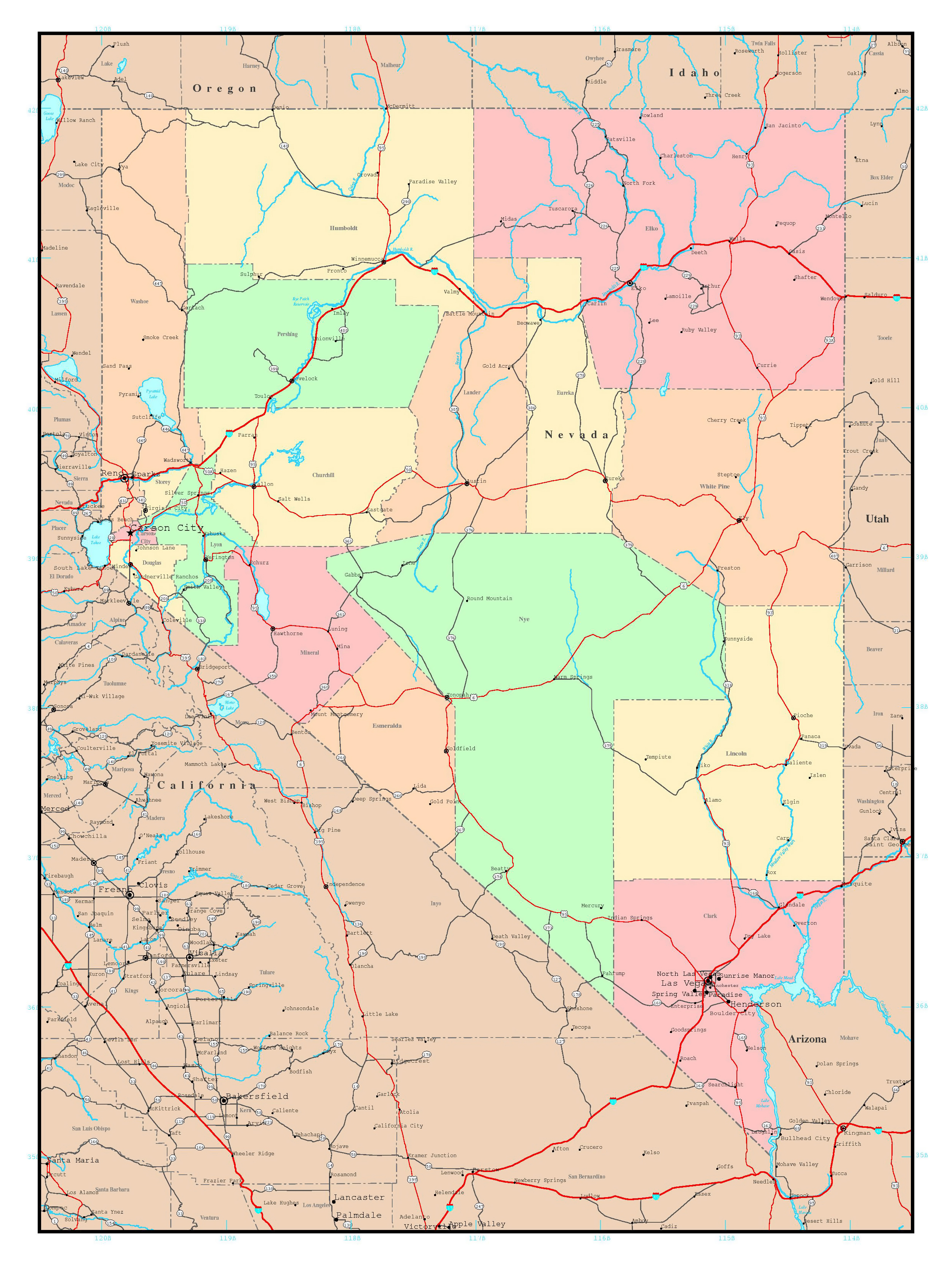 Large Detailed Administrative Map Of Nevada State With Roads - Usa map with roads