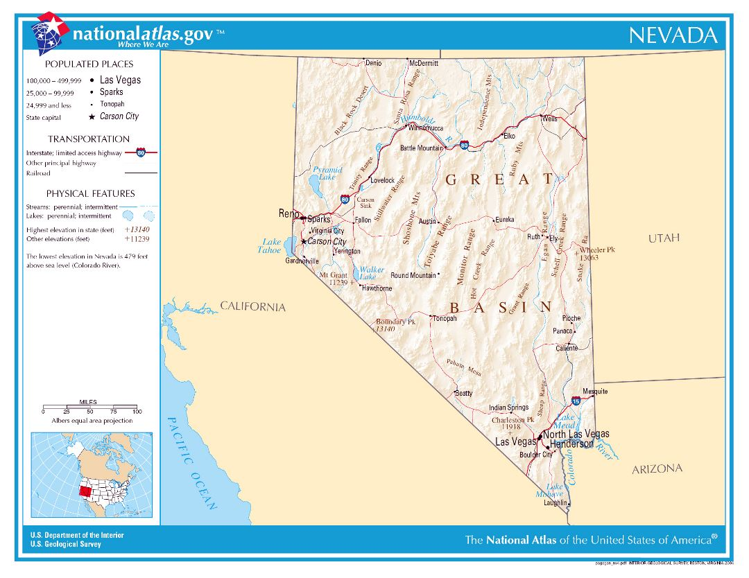 Large detailed map of Nevada state