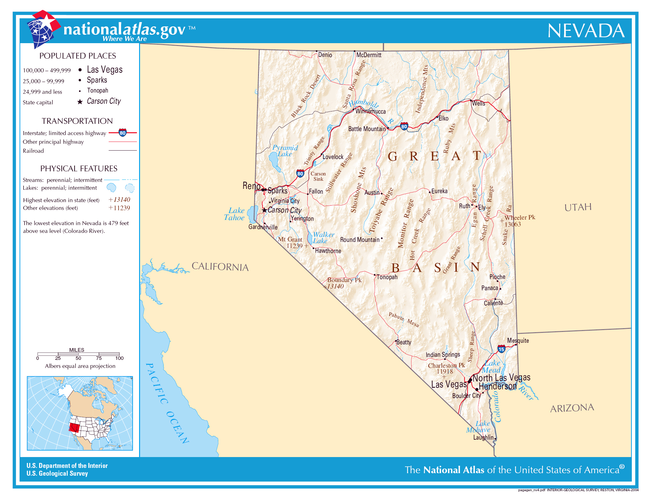 Large detailed map of Nevada state | Nevada state | USA | Maps of ...
