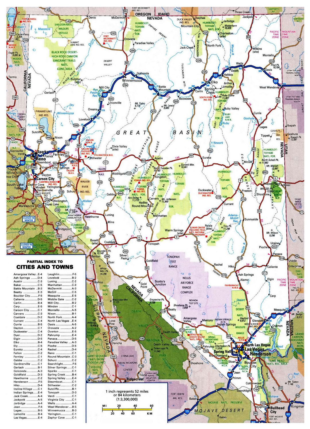 Large detailed roads and highways map of Nevada state with all cities and national parks