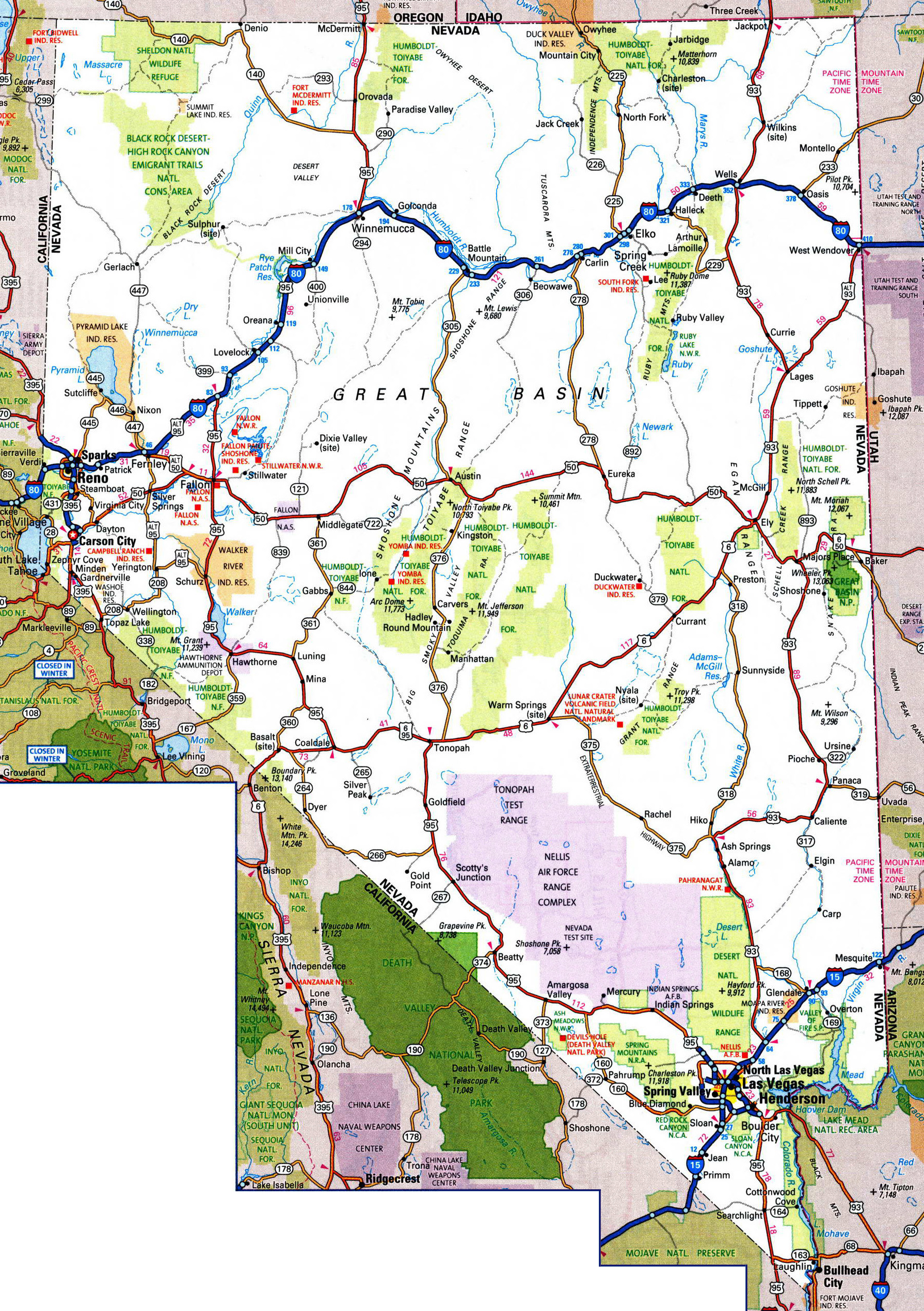 Large Detailed Roads And Highways Map Of Nevada State With Cities - Map of national parks in united states