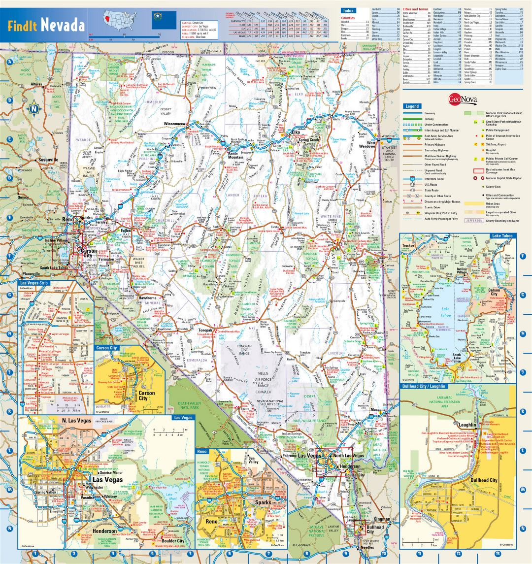 Freeways To Parks >> Large detailed roads and highways map of Nevada state with national parks, all cities, towns and ...