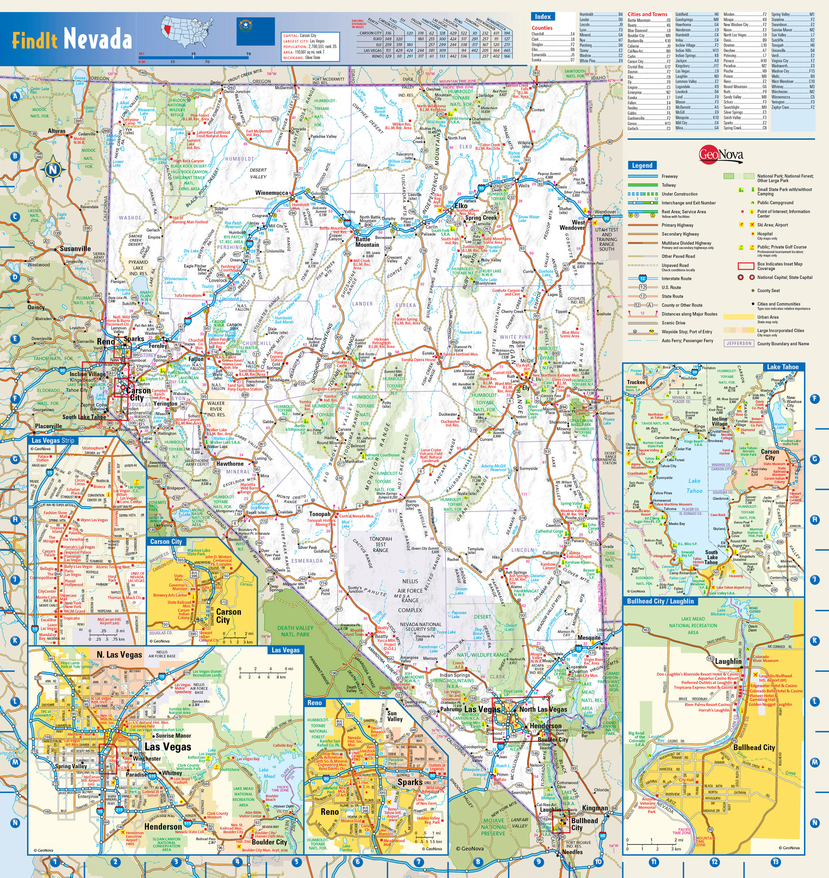 Large Detailed Roads And Highways Map Of Nevada State With - Map of usa and cities