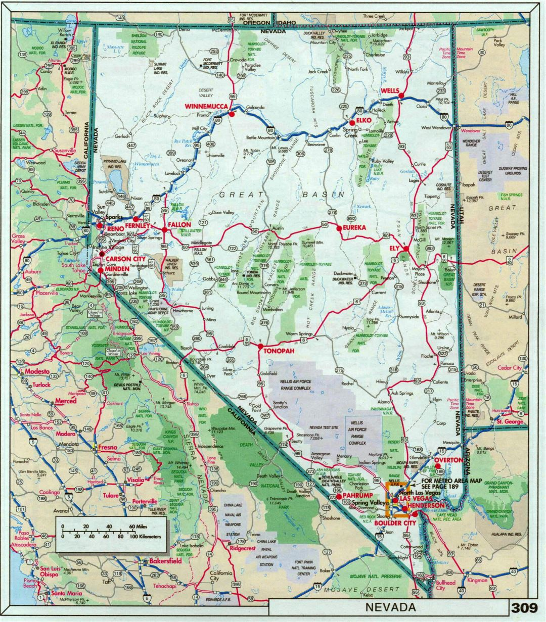 Large detailed roads and highways map of Nevada state with national parks and cities