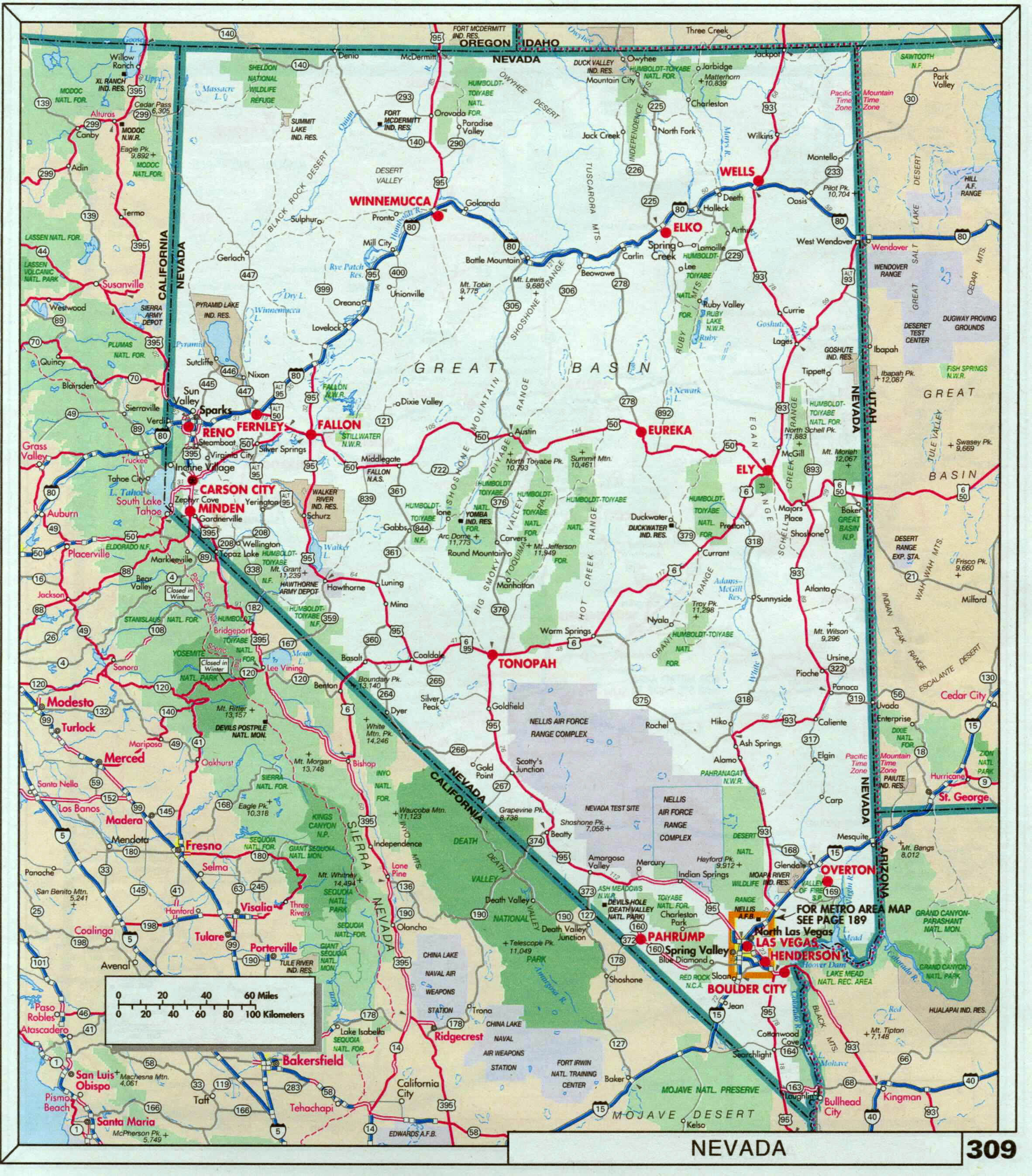 Large detailed roads and highways map of Nevada state with national ...