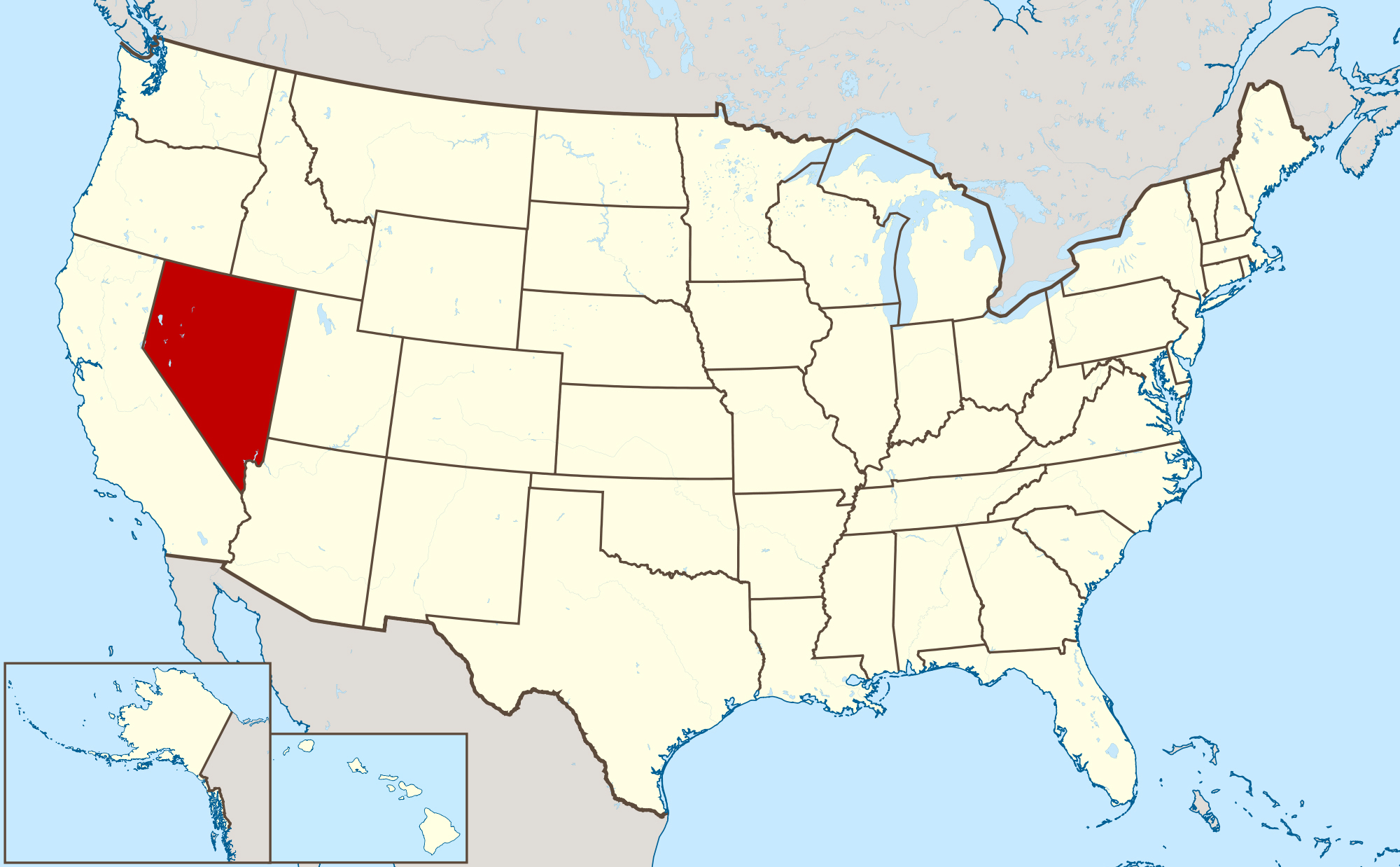 Large location map of Nevada state  Nevada state  USA  Maps of