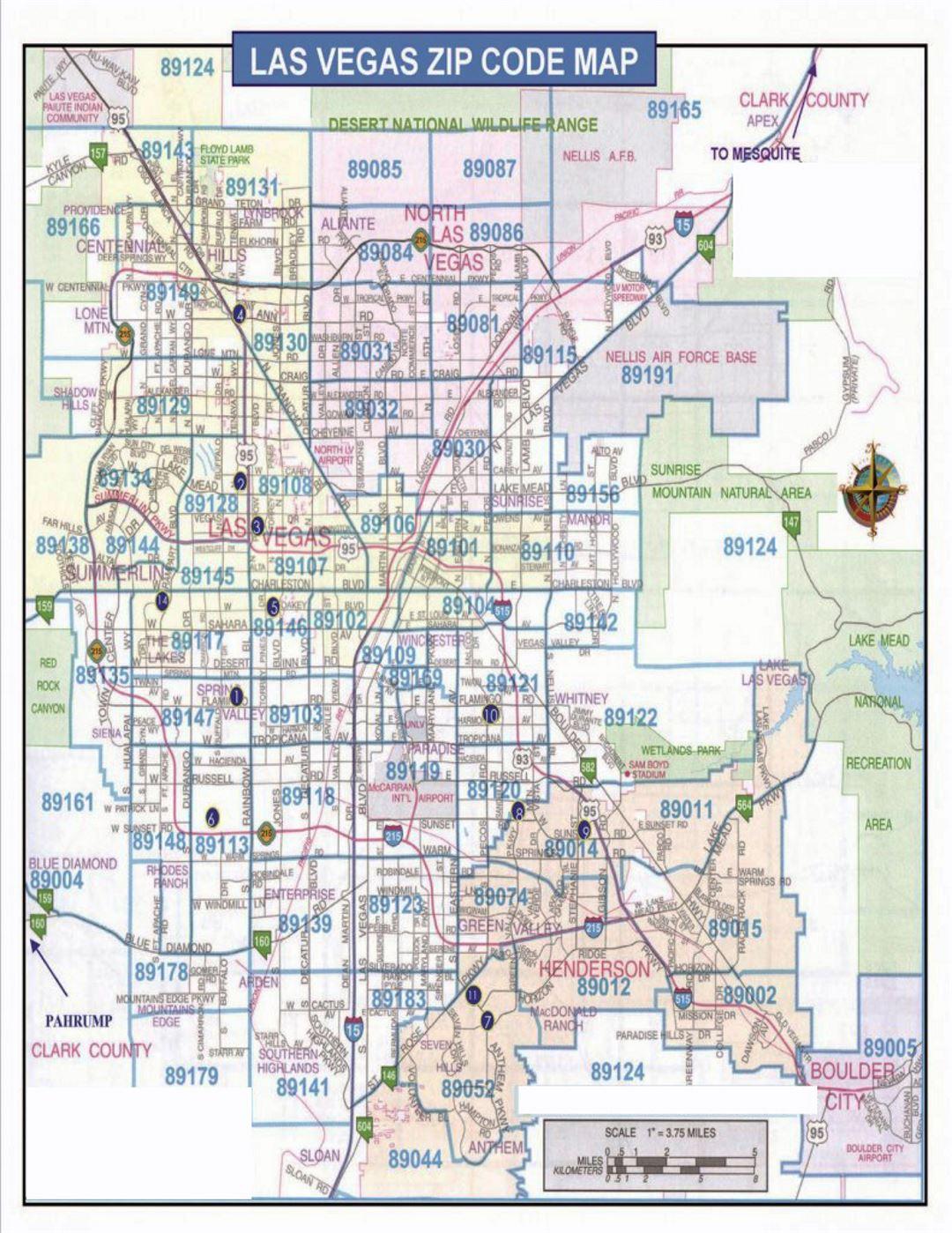 Detailed Las Vegas Zip Code Map Las Vegas Nevada State USA - United states zip code map