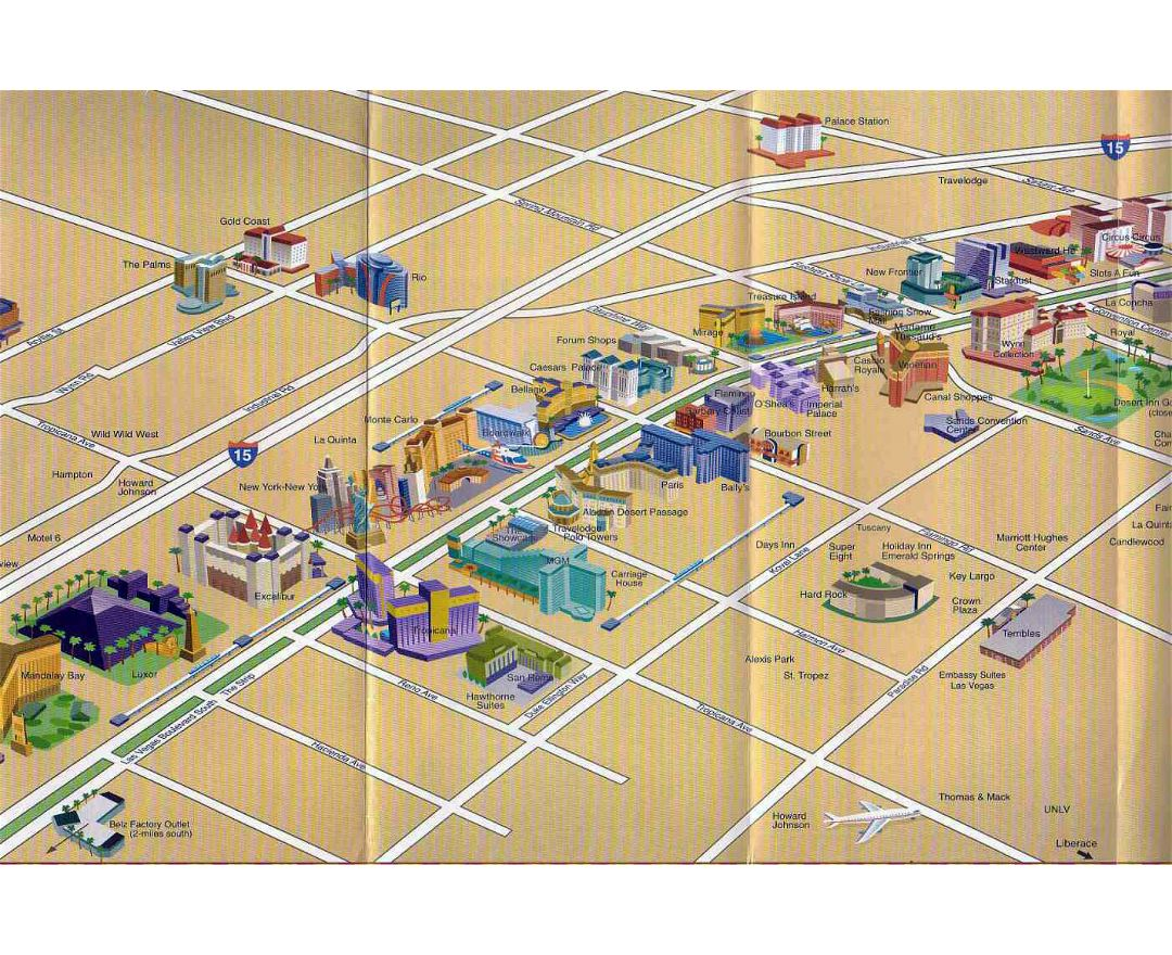 Detailed map of casinos and hotels of Las Vegas city