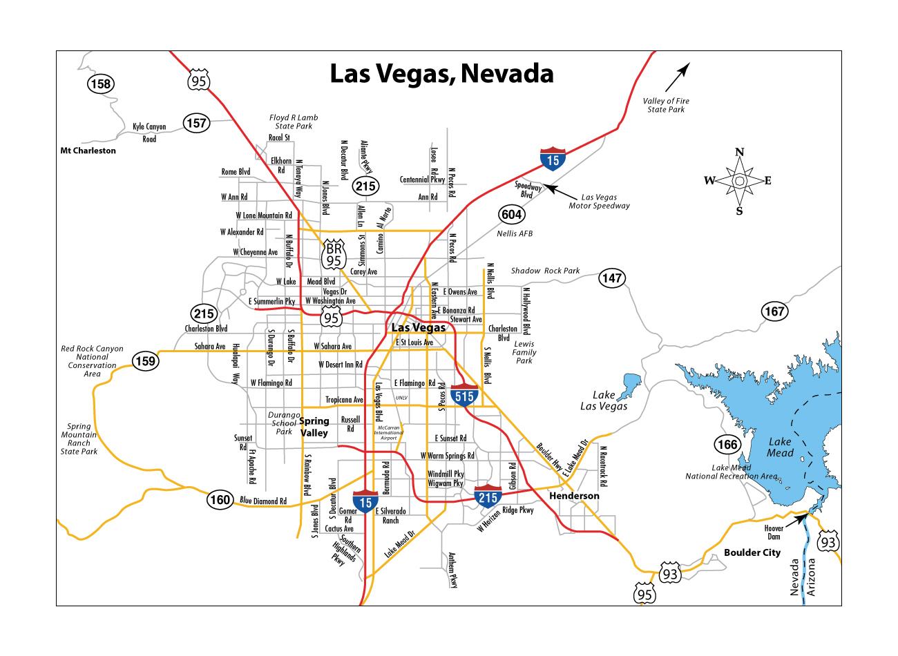 Detailed Road Map Of Las Vegas Las Vegas Nevada State USA - Las vegas nevada usa map