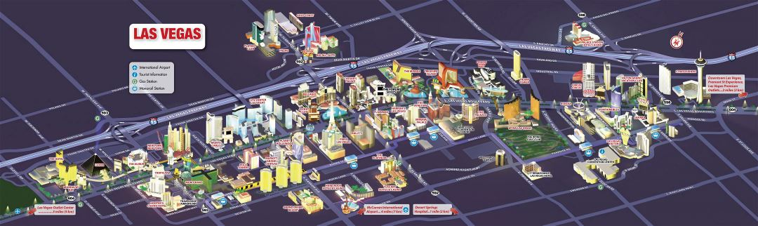 Large detailed Las Vegas city tourist map
