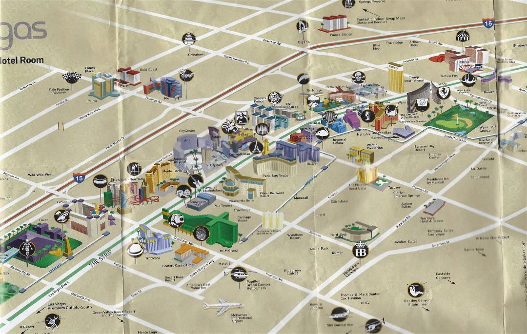 Large detailed Las Vegas downtown map