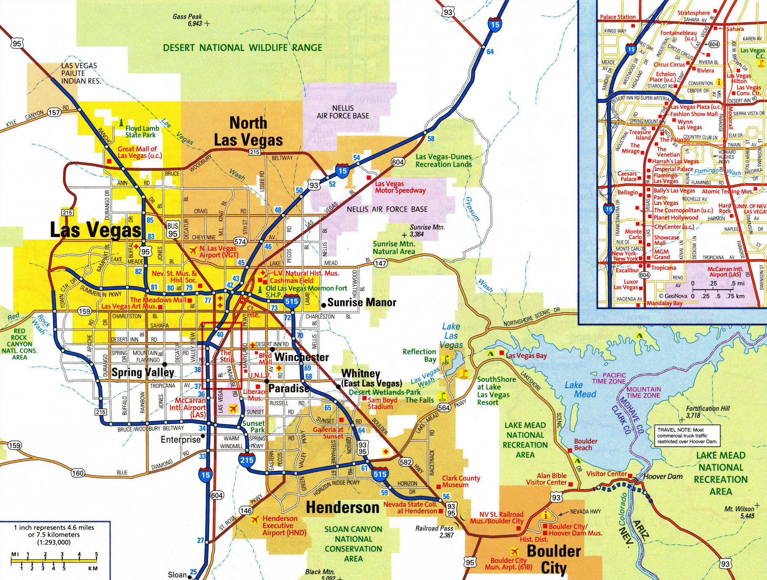 Large detailed road map of Las Vegas city with airports Las Vegas