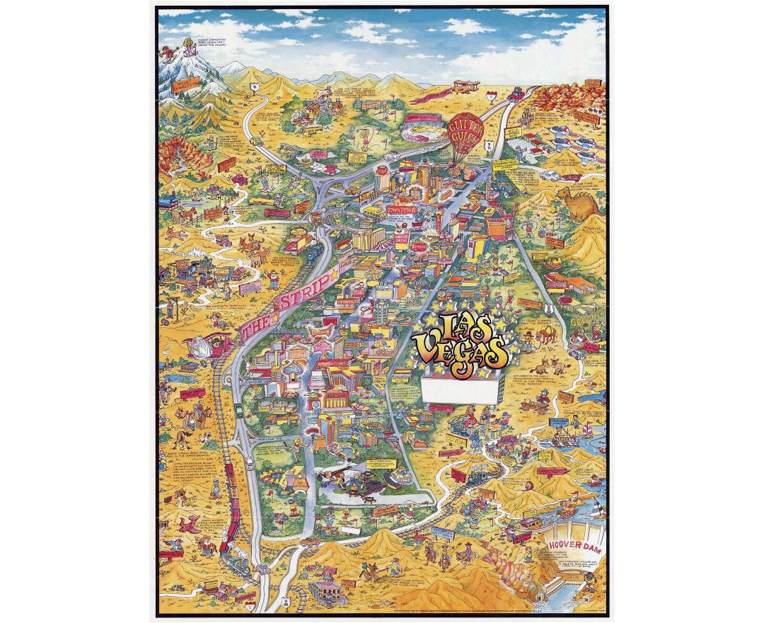 Large detailed tourist illustrated map of Las Vegas