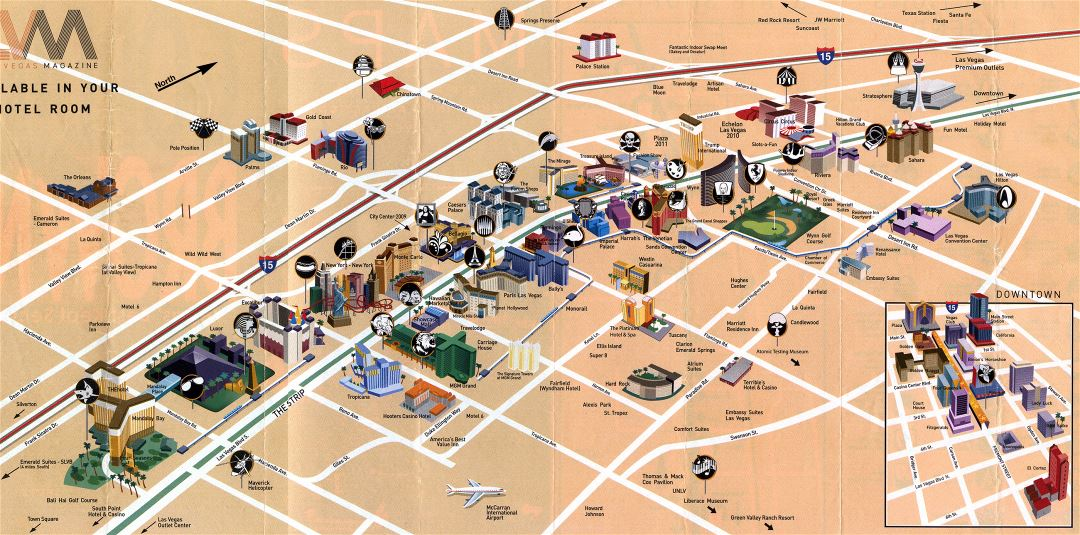 Large detailed tourist map of Las Vegas city