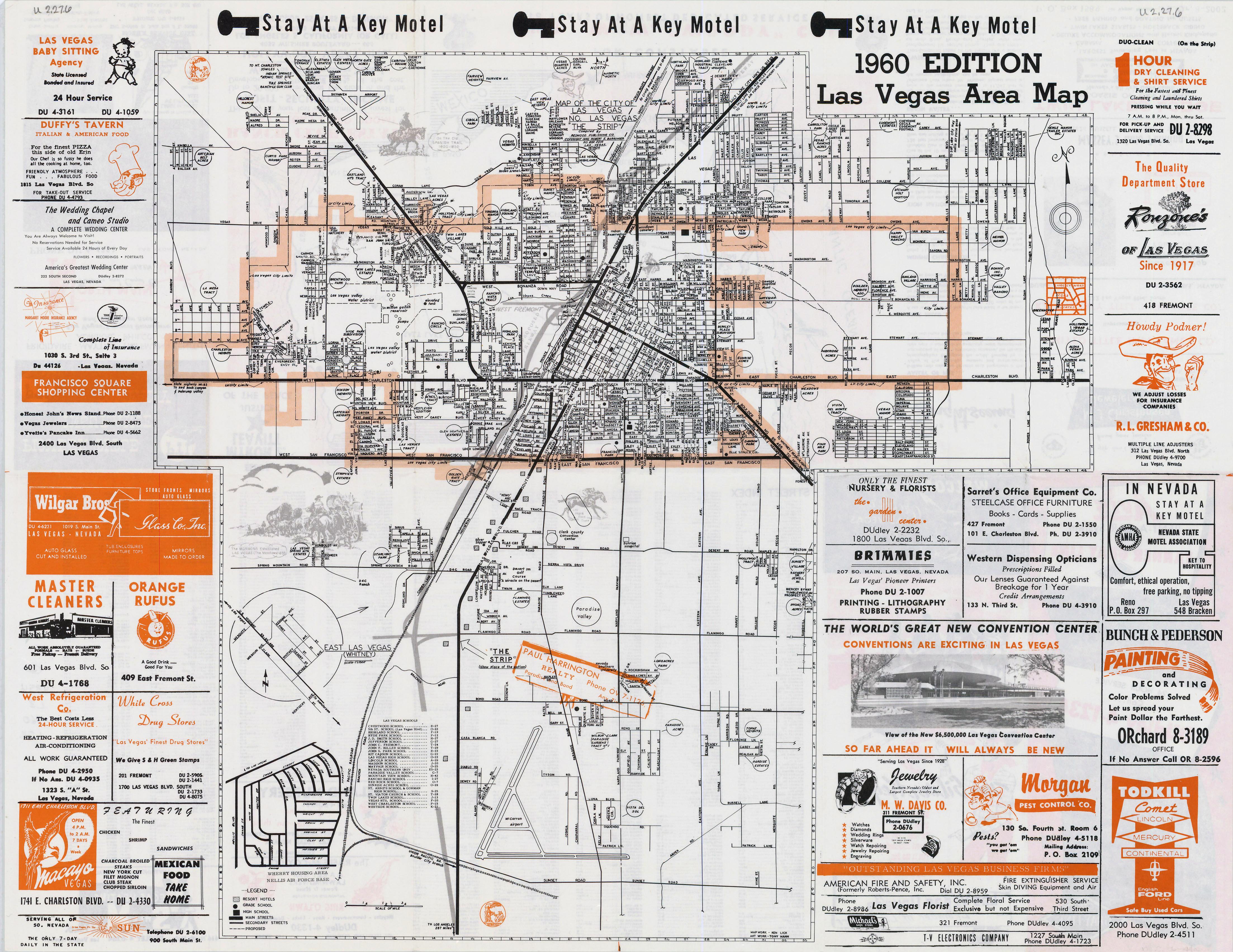 Large detailed vintage Las Vegas city area map - 1960 | Las Vegas ...