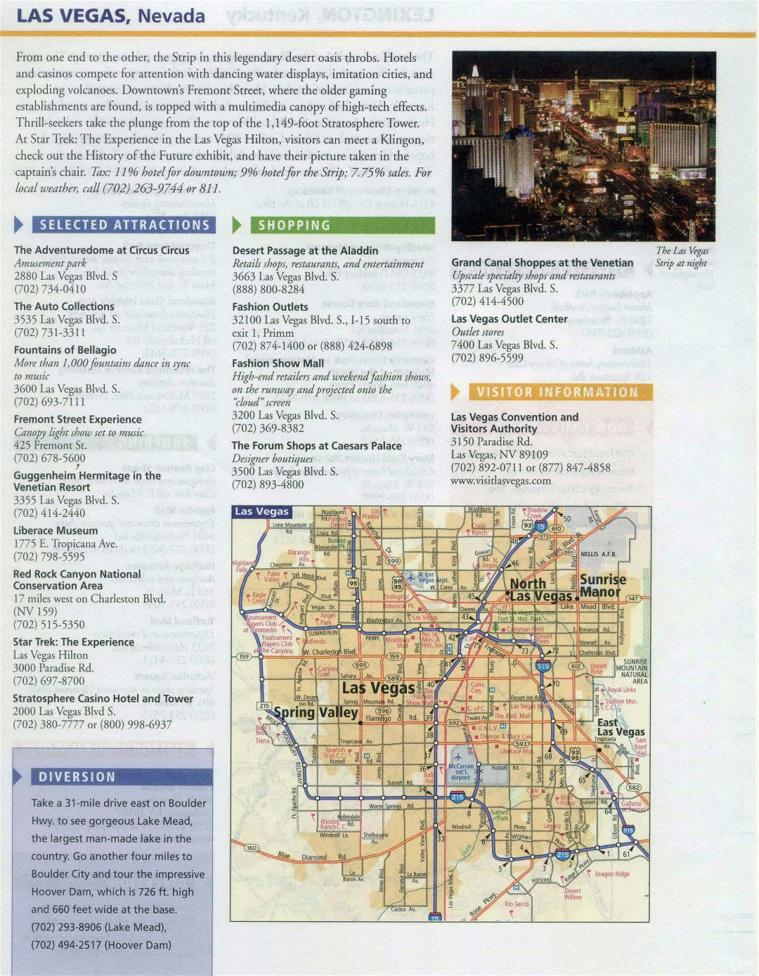 Large infobox of Las Vegas city with road map