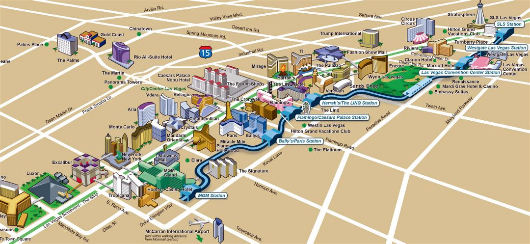 Large map of casinos and hotels of Las Vegas city