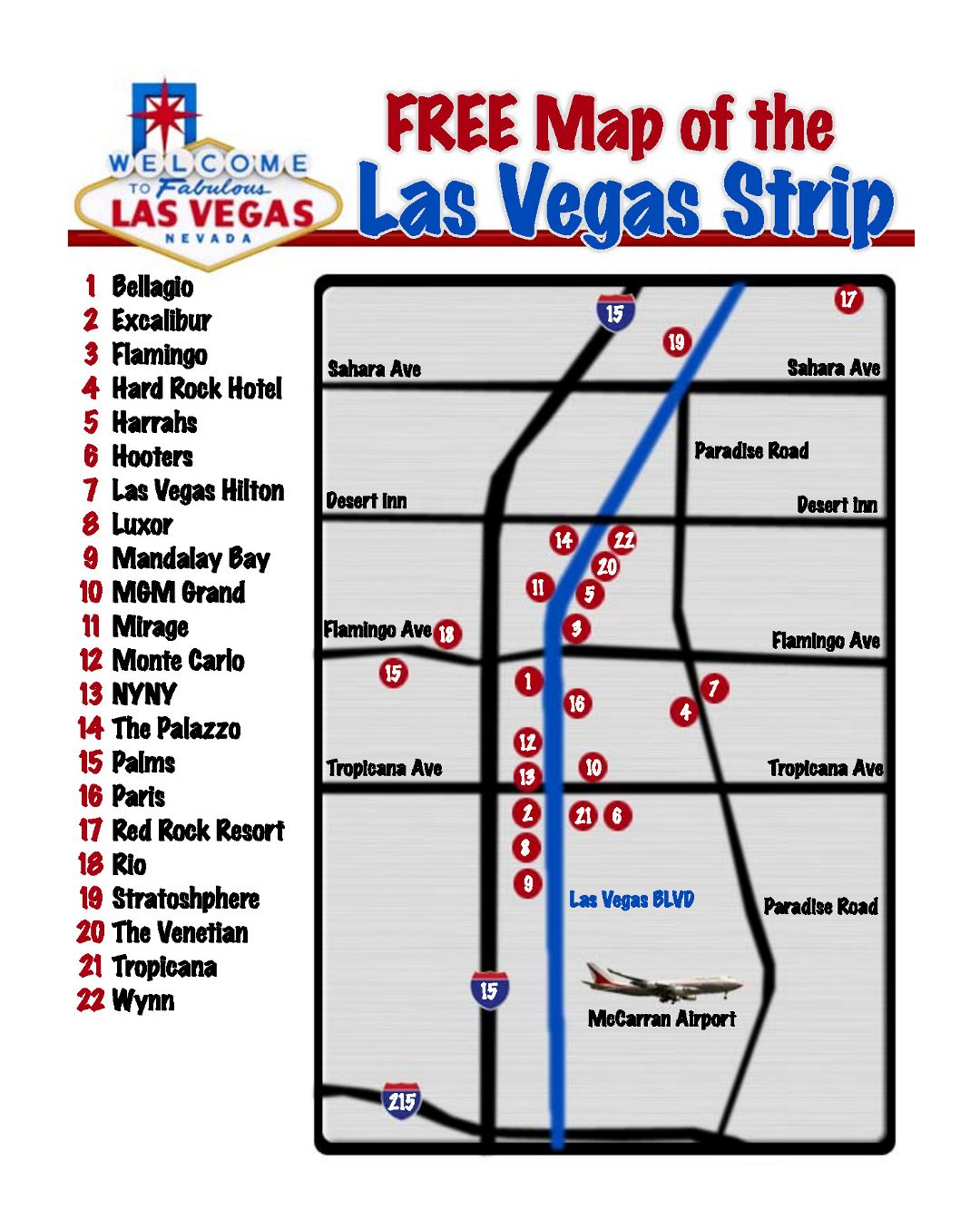 Large map of the Las Vegas strip