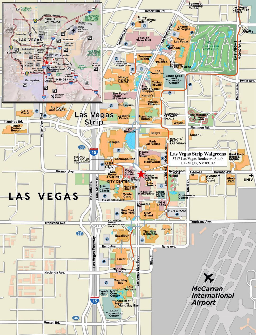 Large strip map of Las Vegas city