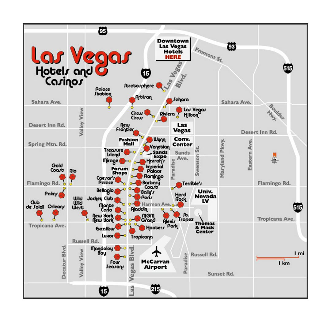 Map of Las Vegas hotels and casinos | Las Vegas | Nevada ...