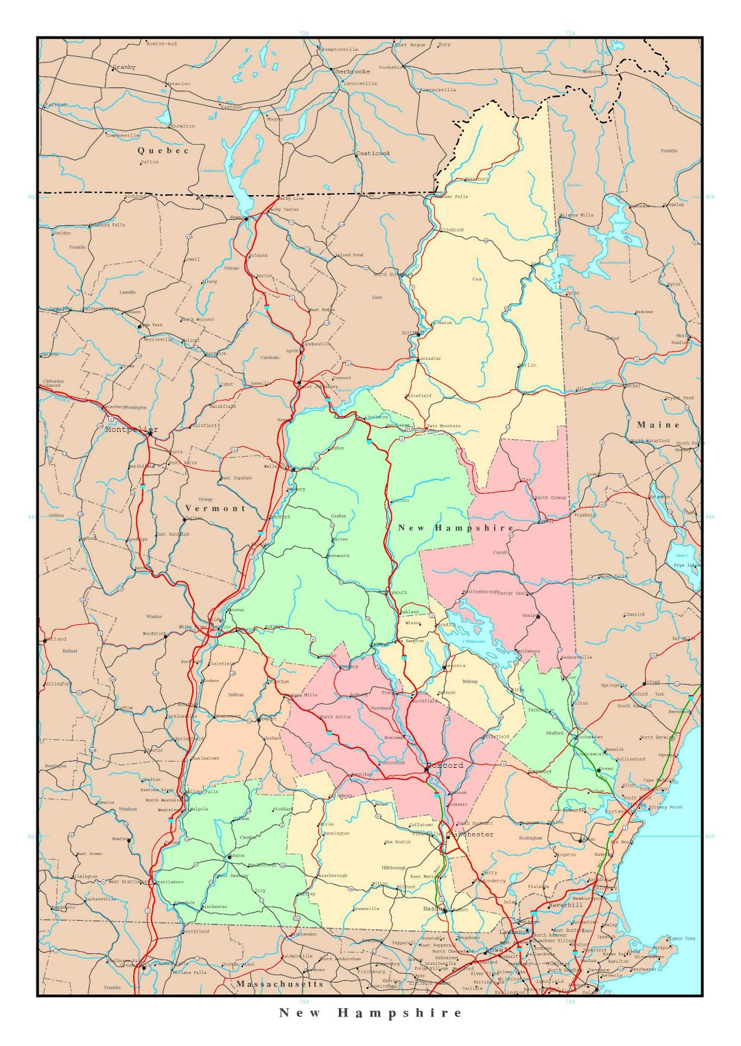 Large detailed administrative map of New Hampshire state with roads, highways and major cities