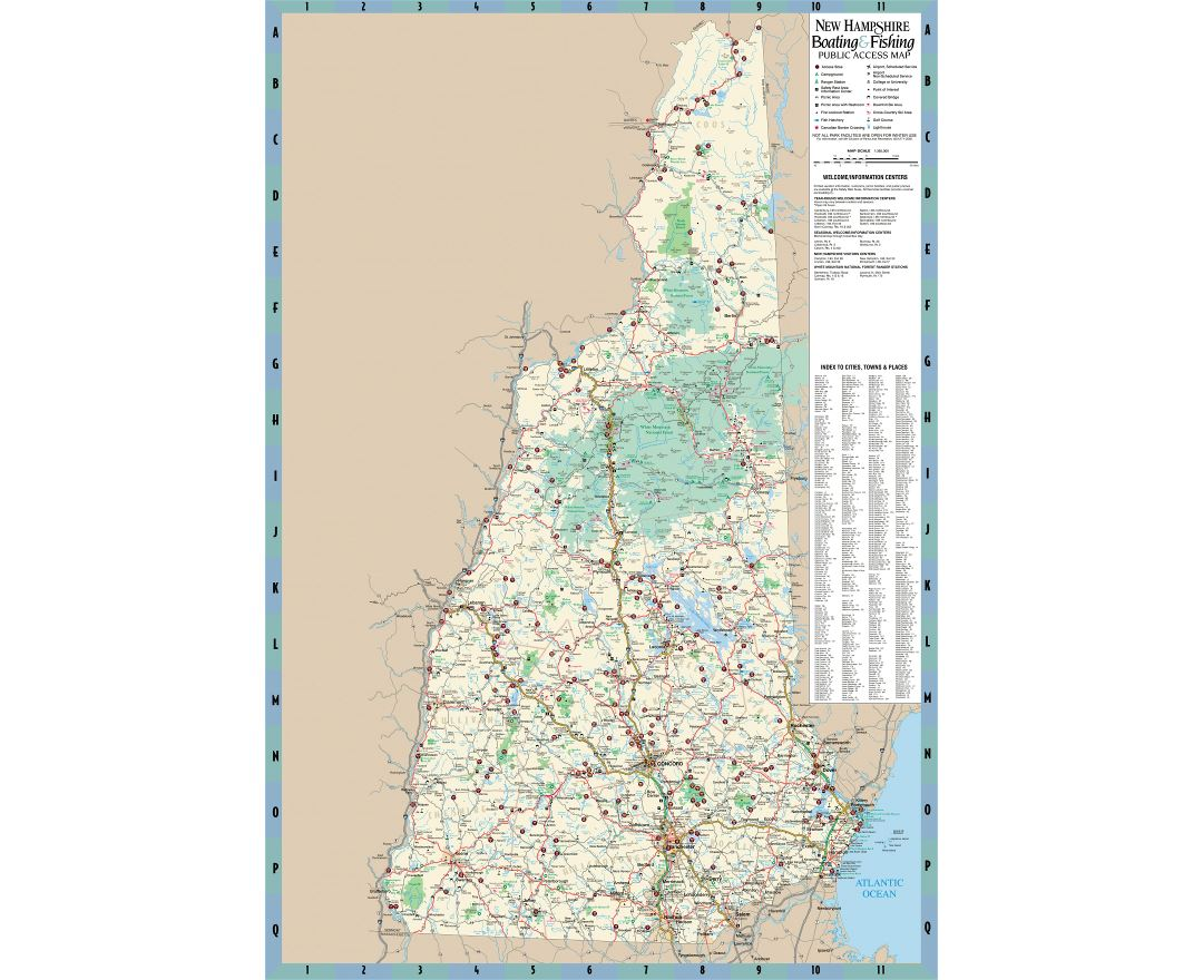 Large detailed boating and fishing public access map of New Hampshire state