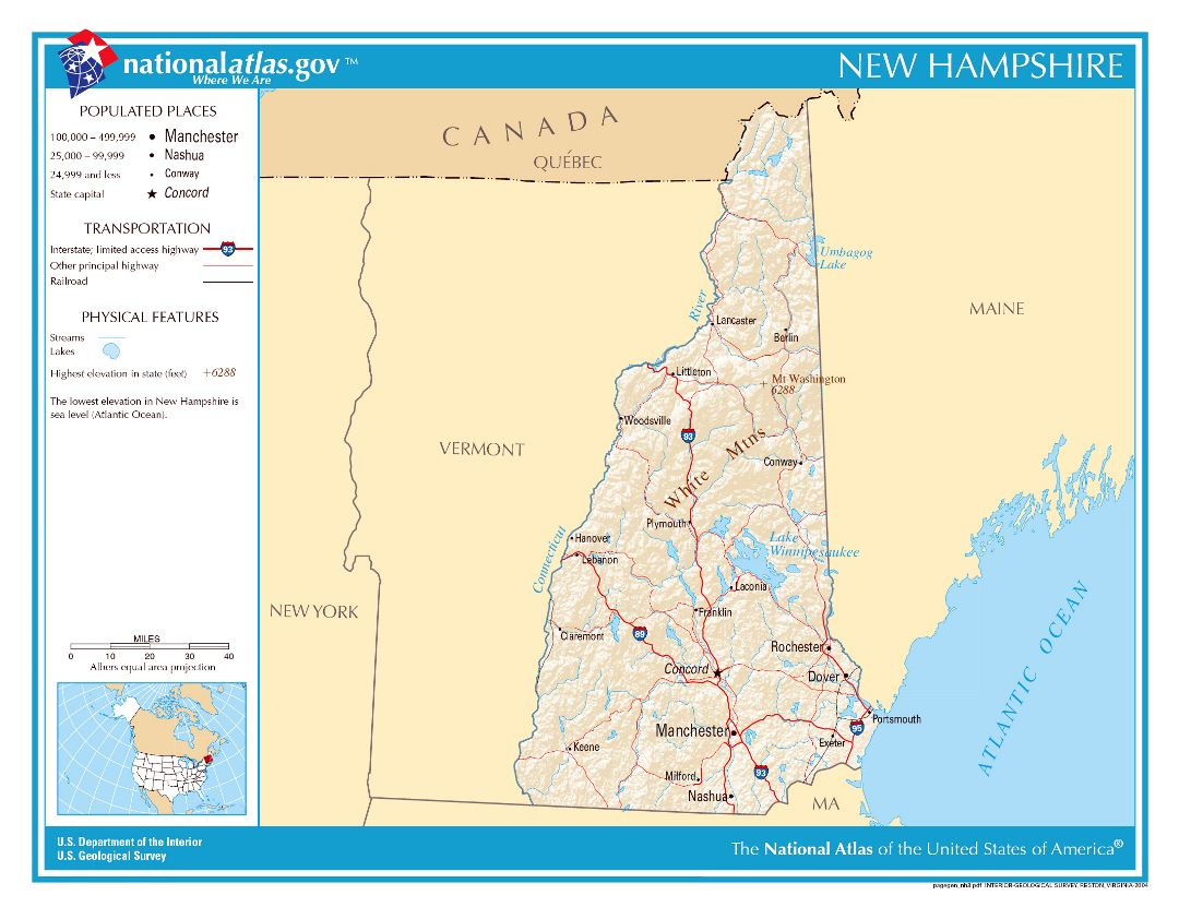 Large detailed map of New Hampshire state