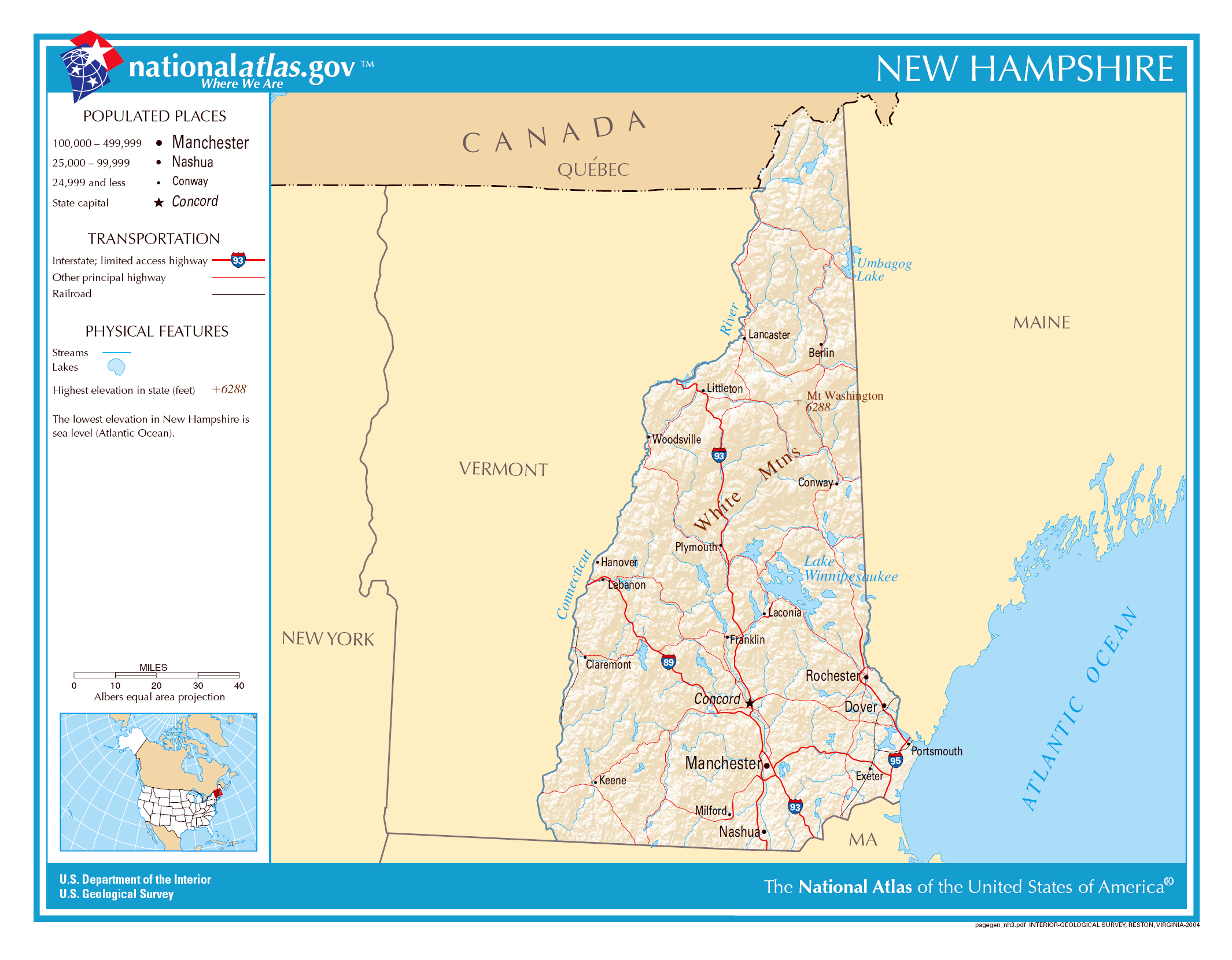 Large detailed map of New Hampshire state New Hampshire state