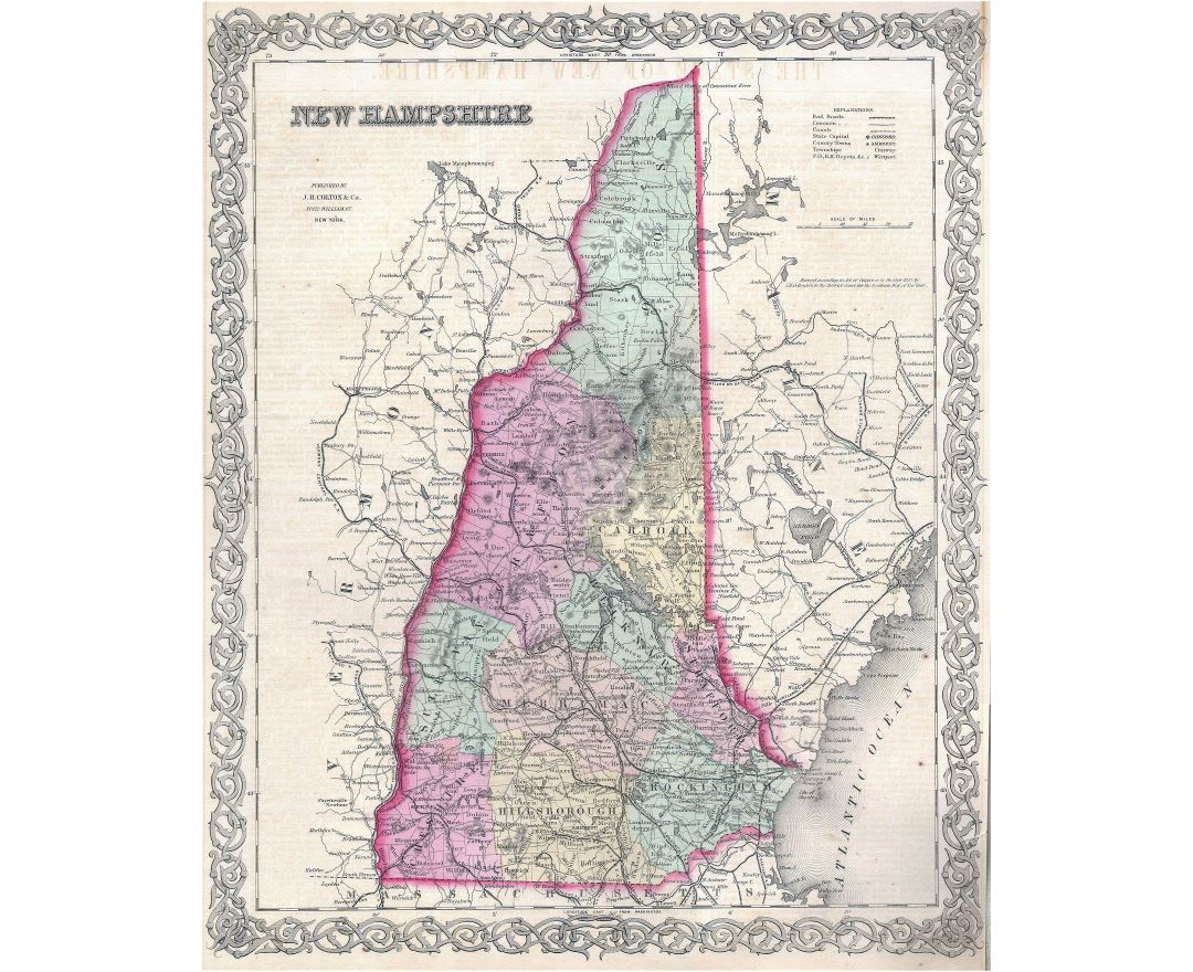 Large detailed old administrative map of New Hampshire state with relief, roads, railroads and cities - 1855