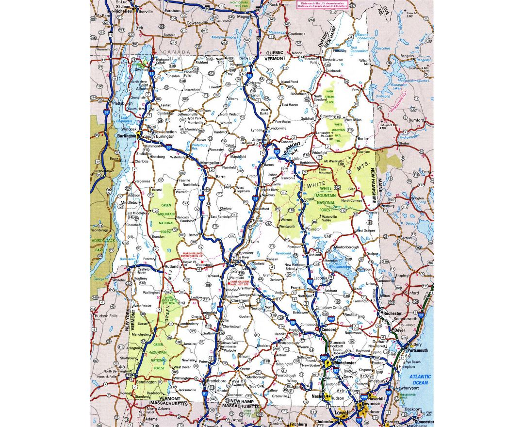Large detailed roads and highways map of New Hampshire state with all cities and national parks