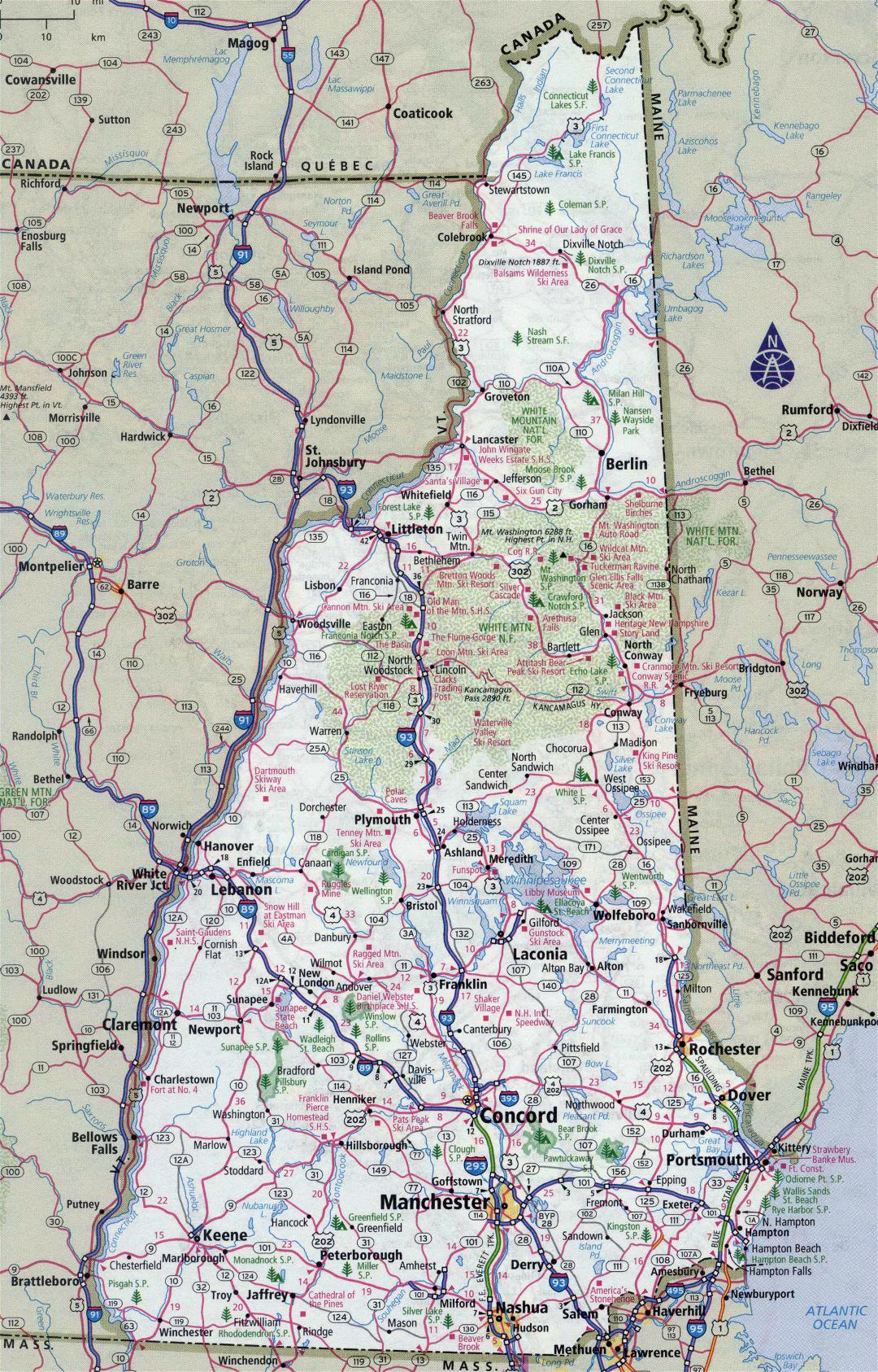 Large detailed roads and highways map of New Hampshire state with all cities