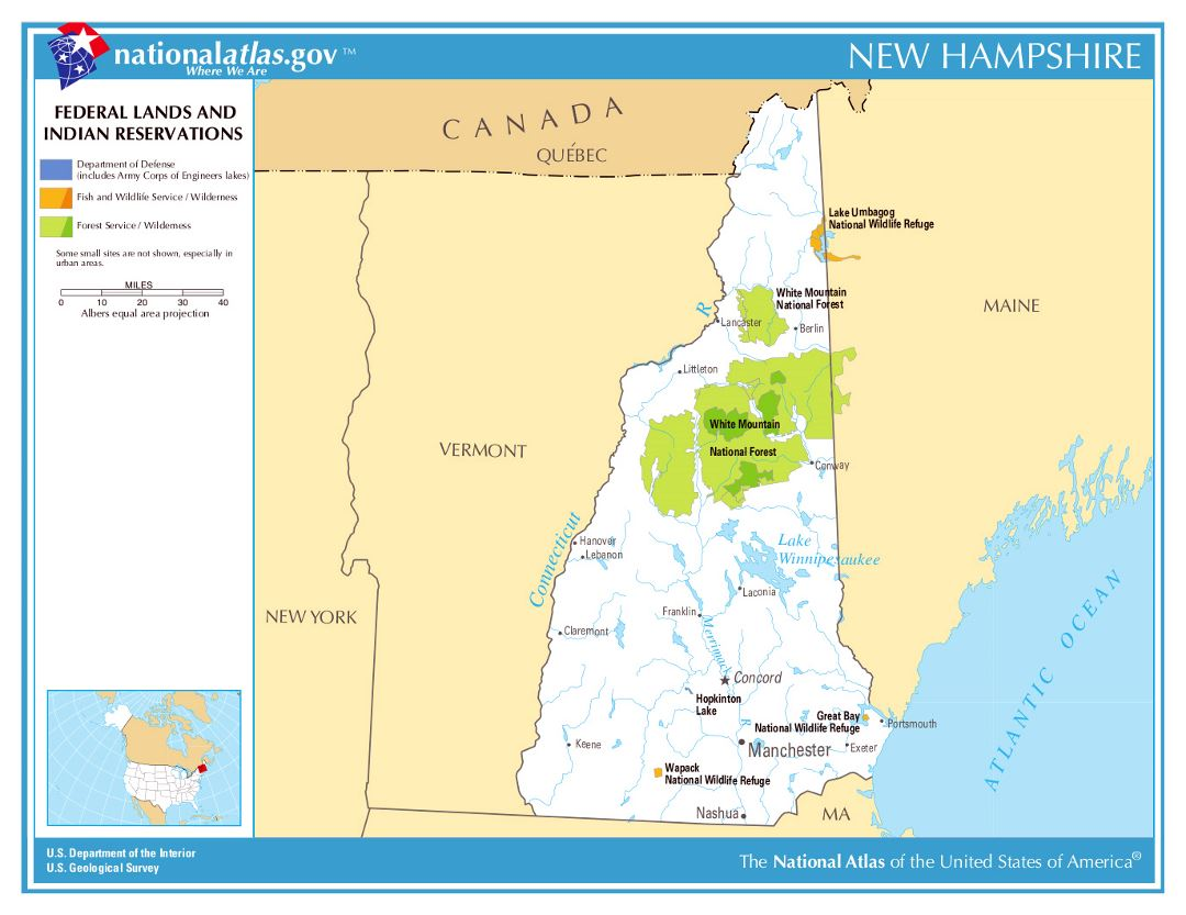 Large map of New Hampshire state federal lands and indian reservations