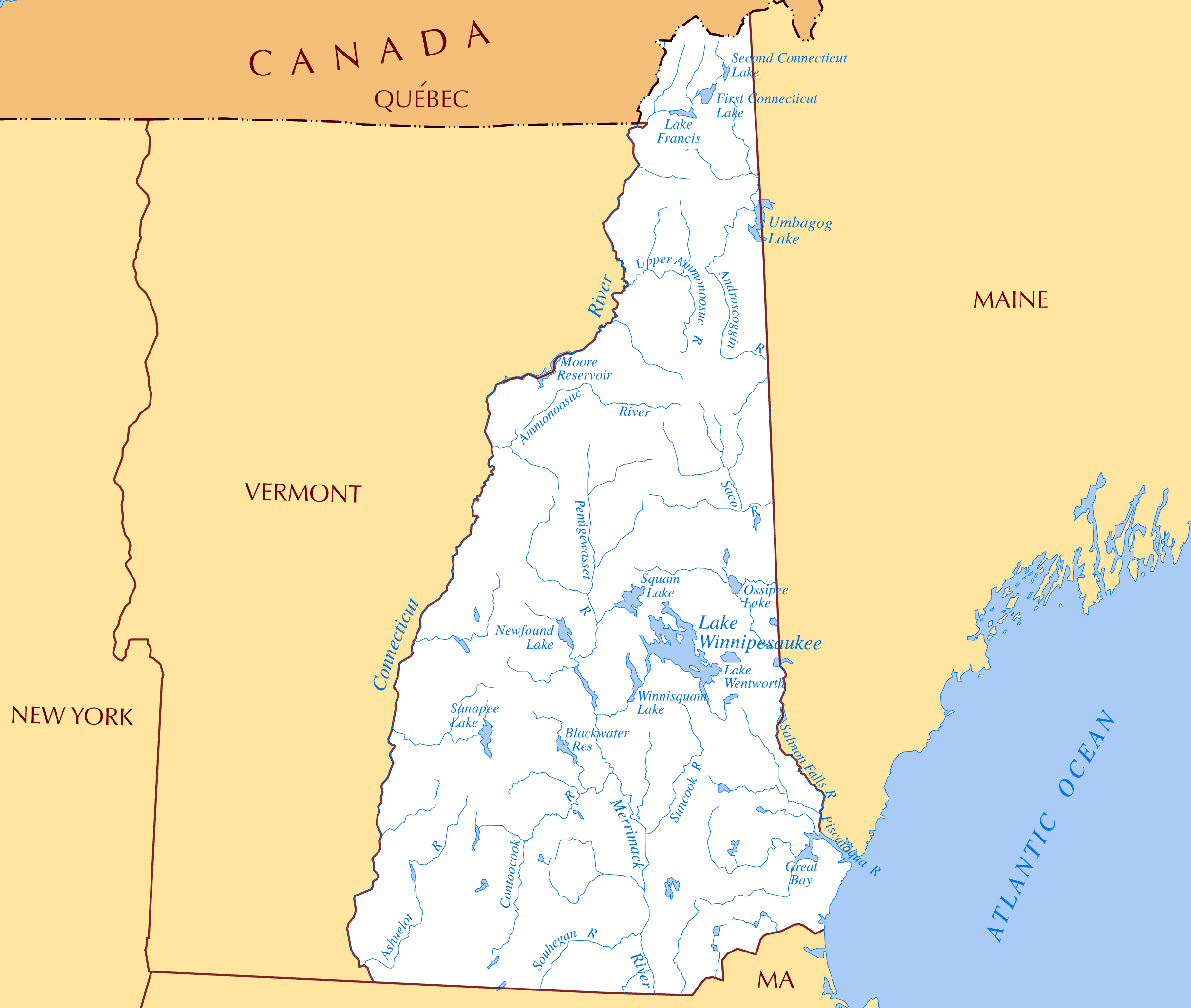 New Hampshire On Map Of Usa.Large Rivers And Lakes Map Of New Hampshire State New Hampshire