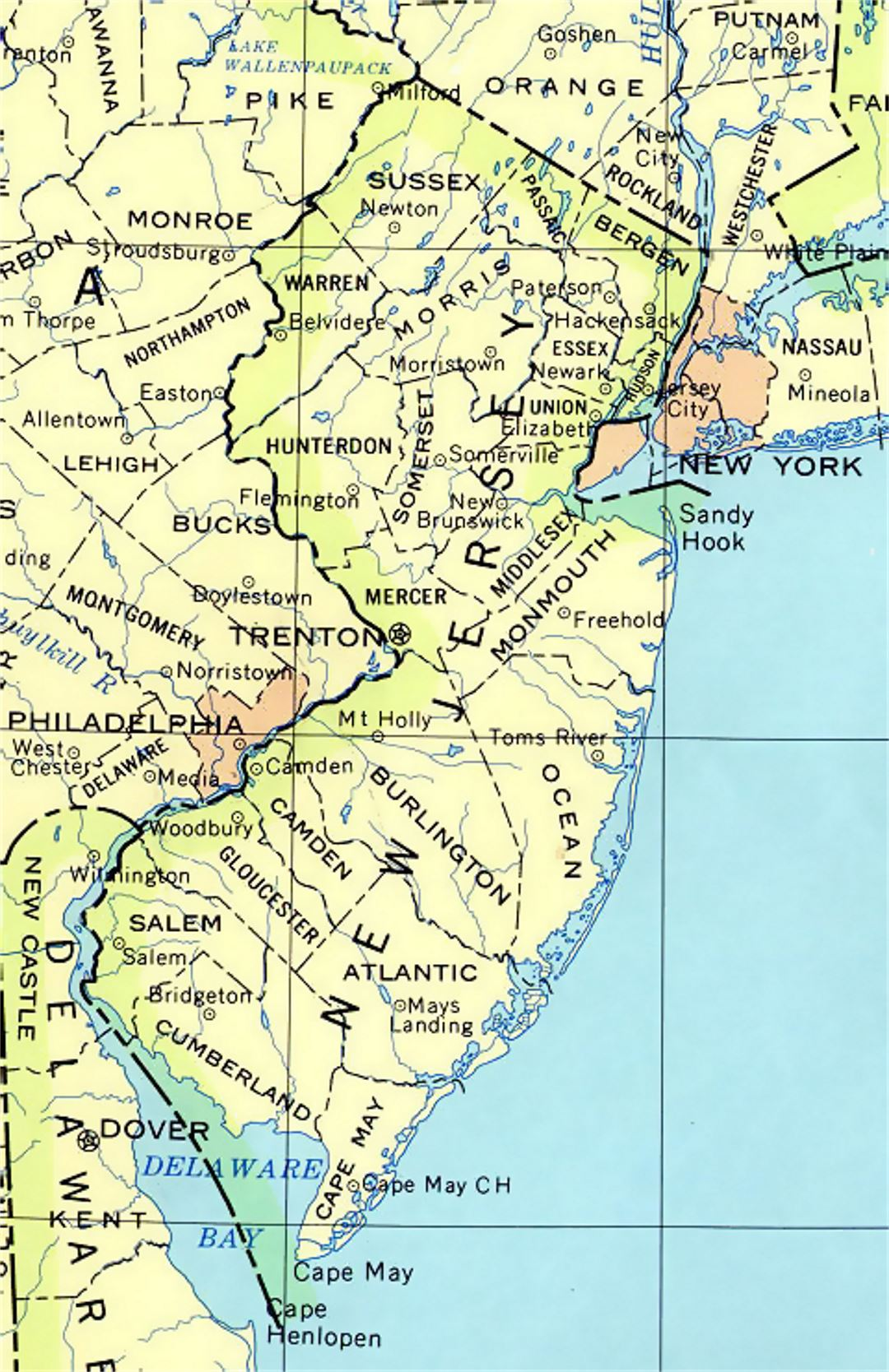 Administrative map of New Jersey state