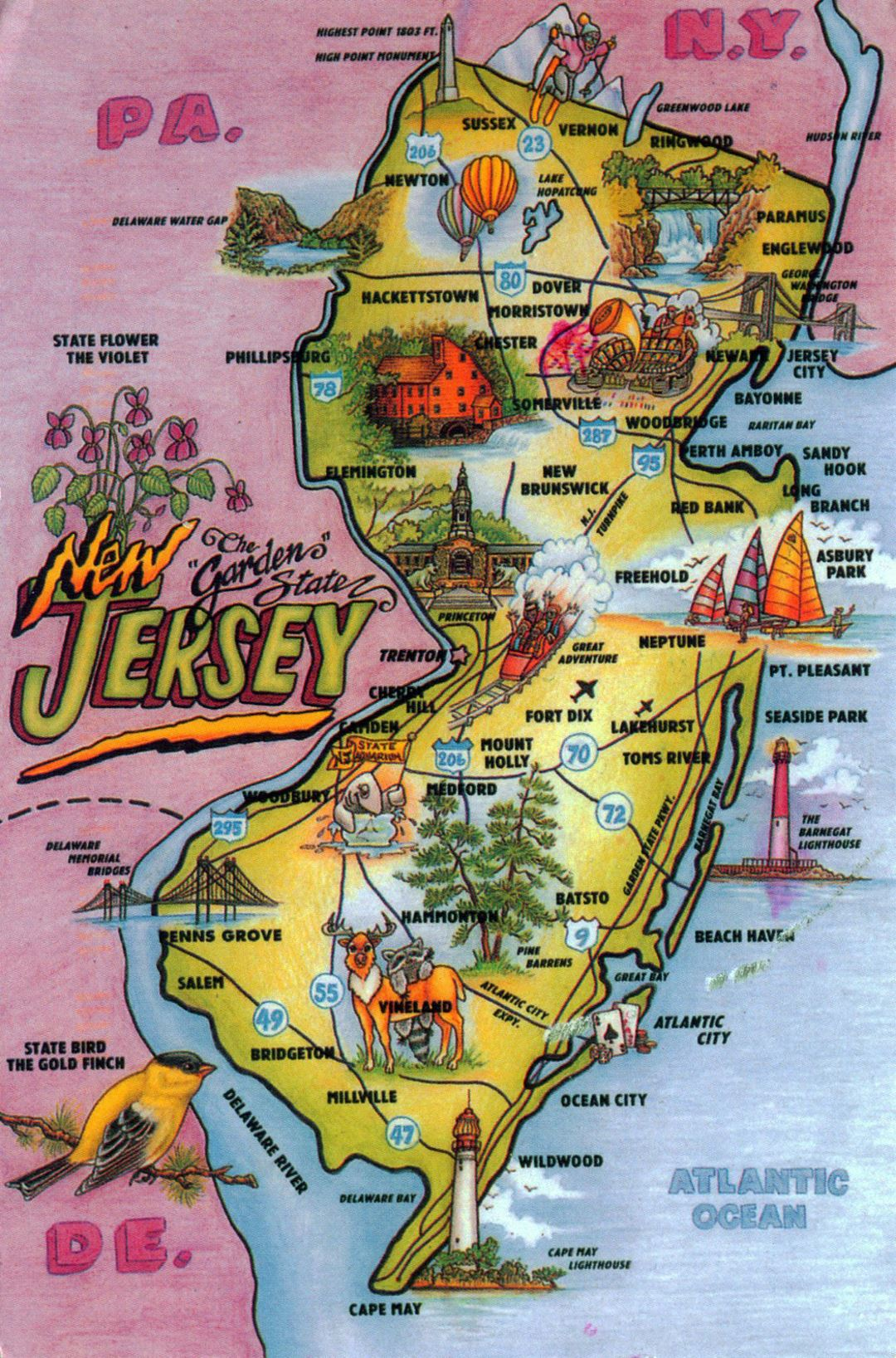 Detailed tourist illustrated map of New Jersey state