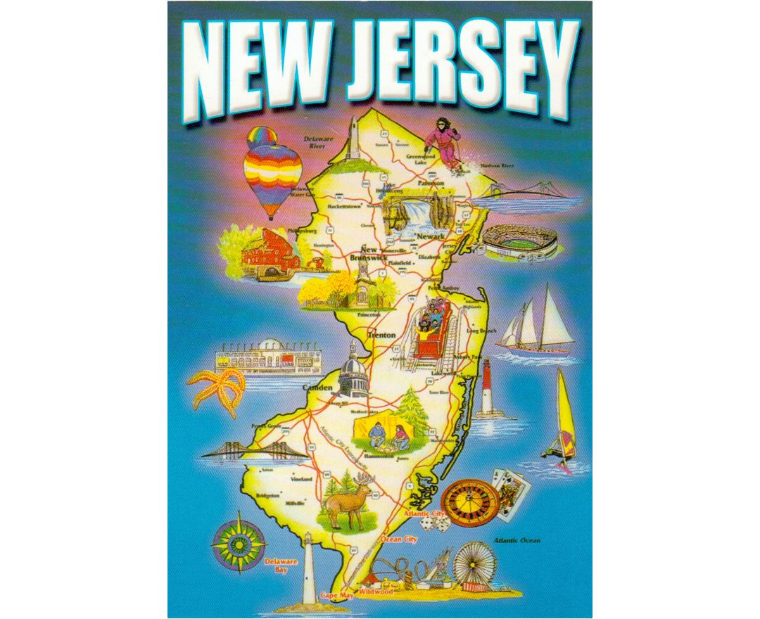 Detailed tourist map of New Jersey state