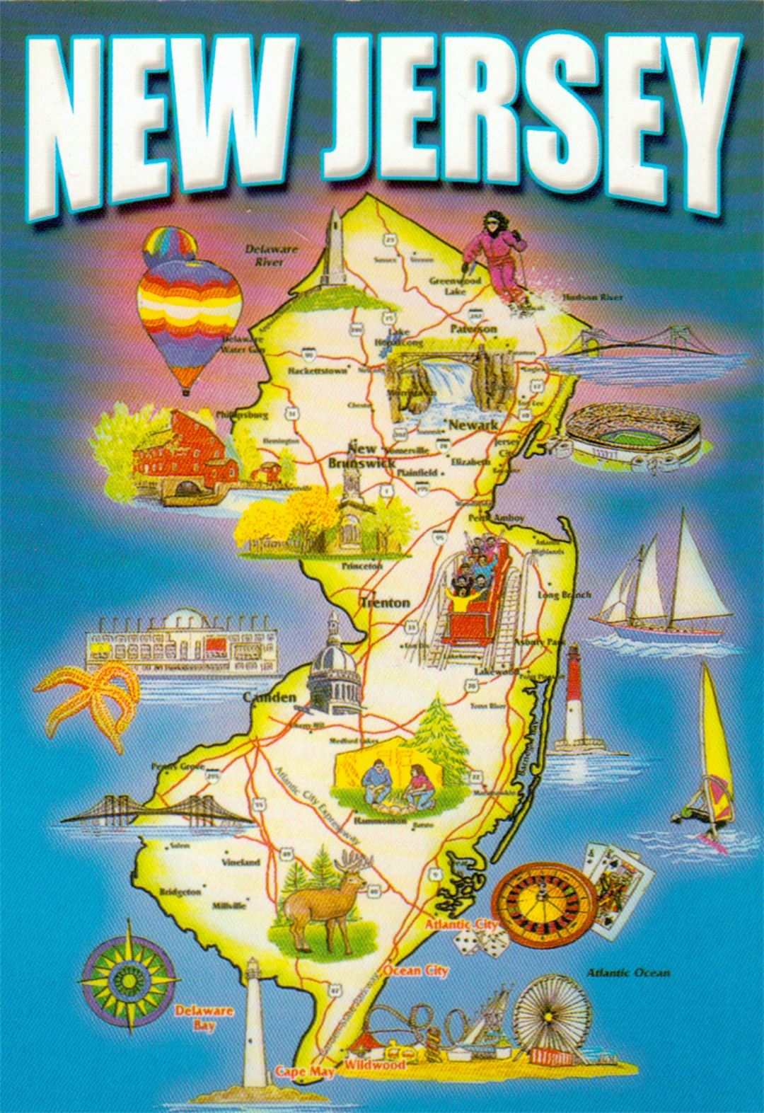 Detailed Tourist Map Of New Jersey State New Jersey State USA - Detailed map of nj
