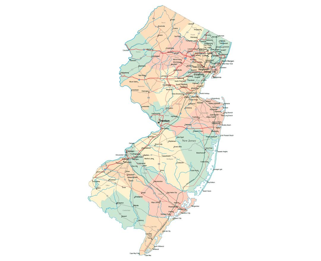 Large administrative map of New Jersey state with roads, highways and cities