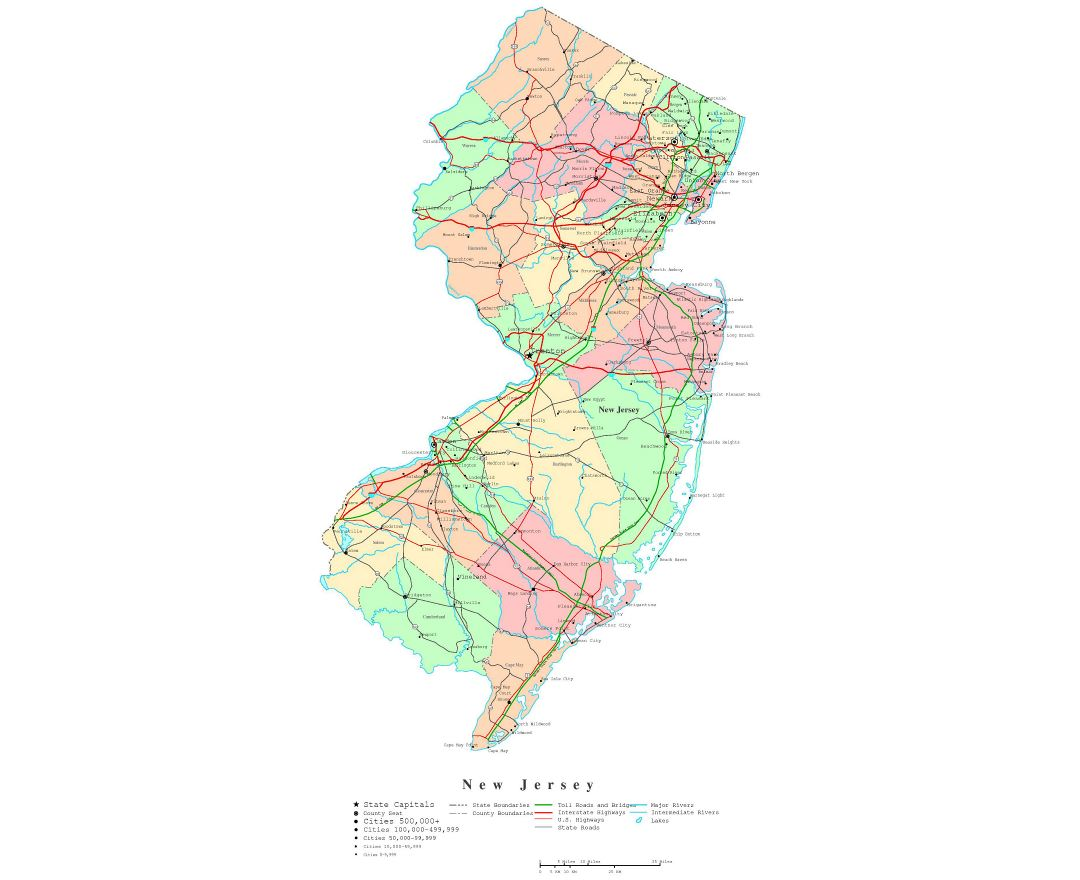 Large detailed administrative map of New Jersey state with roads, highways and cities