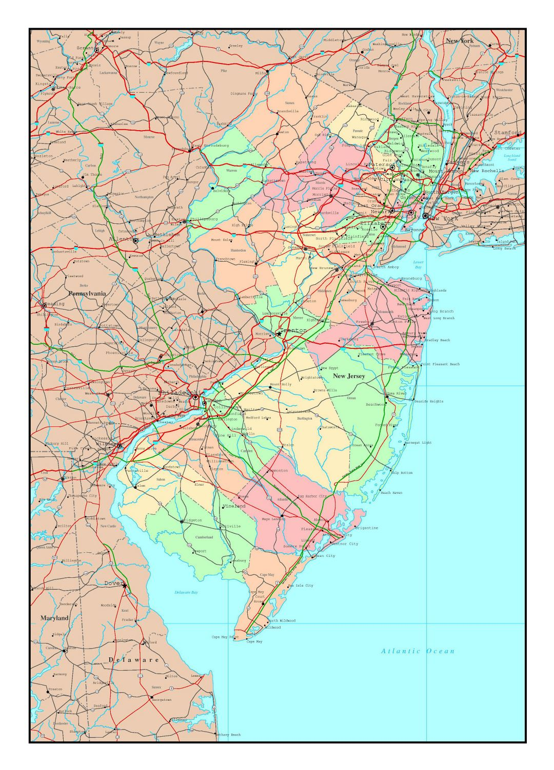 Large detailed administrative map of New Jersey state with roads, highways and major cities